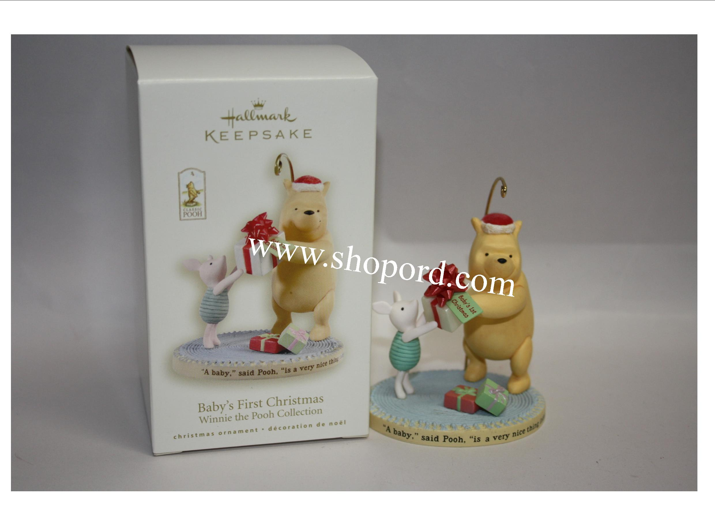 hallmark 2008 babys first christmas ornament winnie the pooh collection qxd6121 - Winnie The Pooh Christmas Decorations