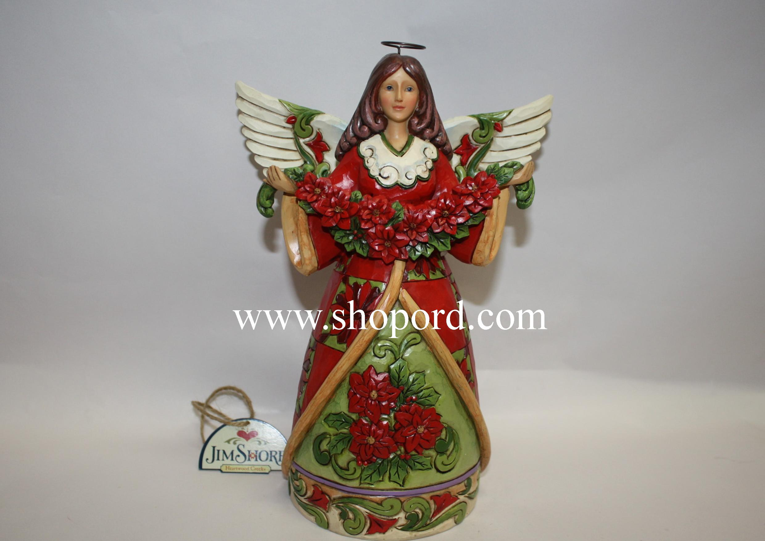Jim shore christmas beauty red green angel with poinsettia figurine