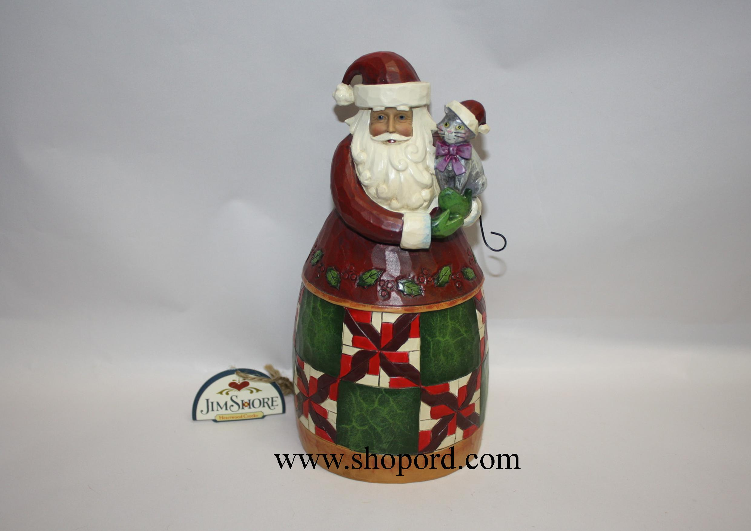 Jim shore christmas cheer is here santa with cat classic figurine