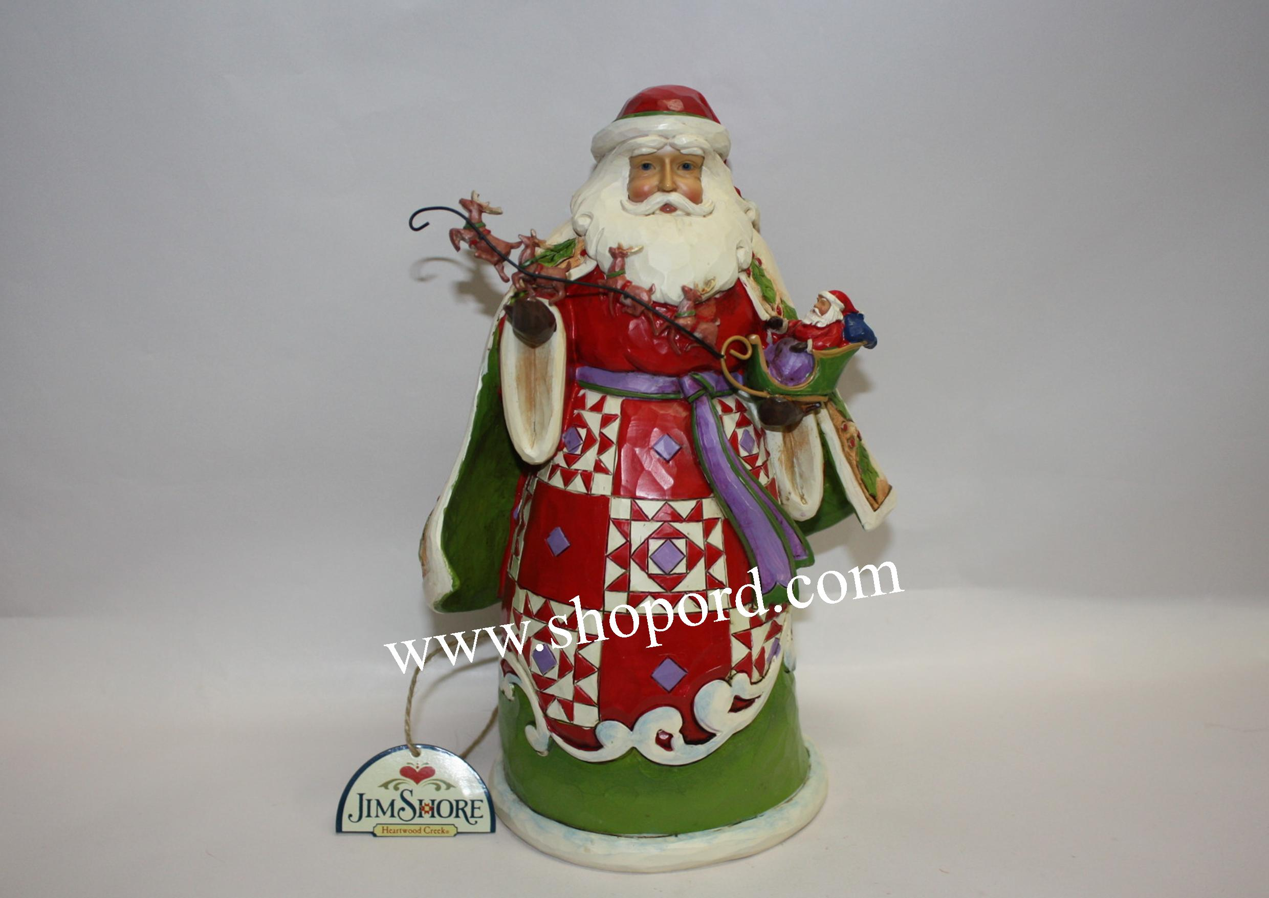 Santa sleigh ornament - Jim Shore Christmas Miracles Are In Your Grasp Santa Holding Sleigh Figurine 4034358