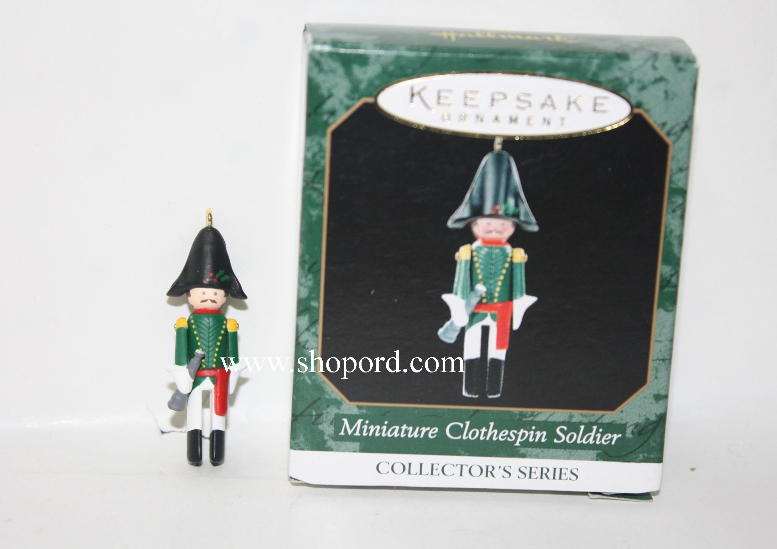 QXM4579 Hallmark Keepsake Ornaments Miniature Clothespin Soldier Fifth in Series French Officer 1999 Hallmark Keepsake Ornament