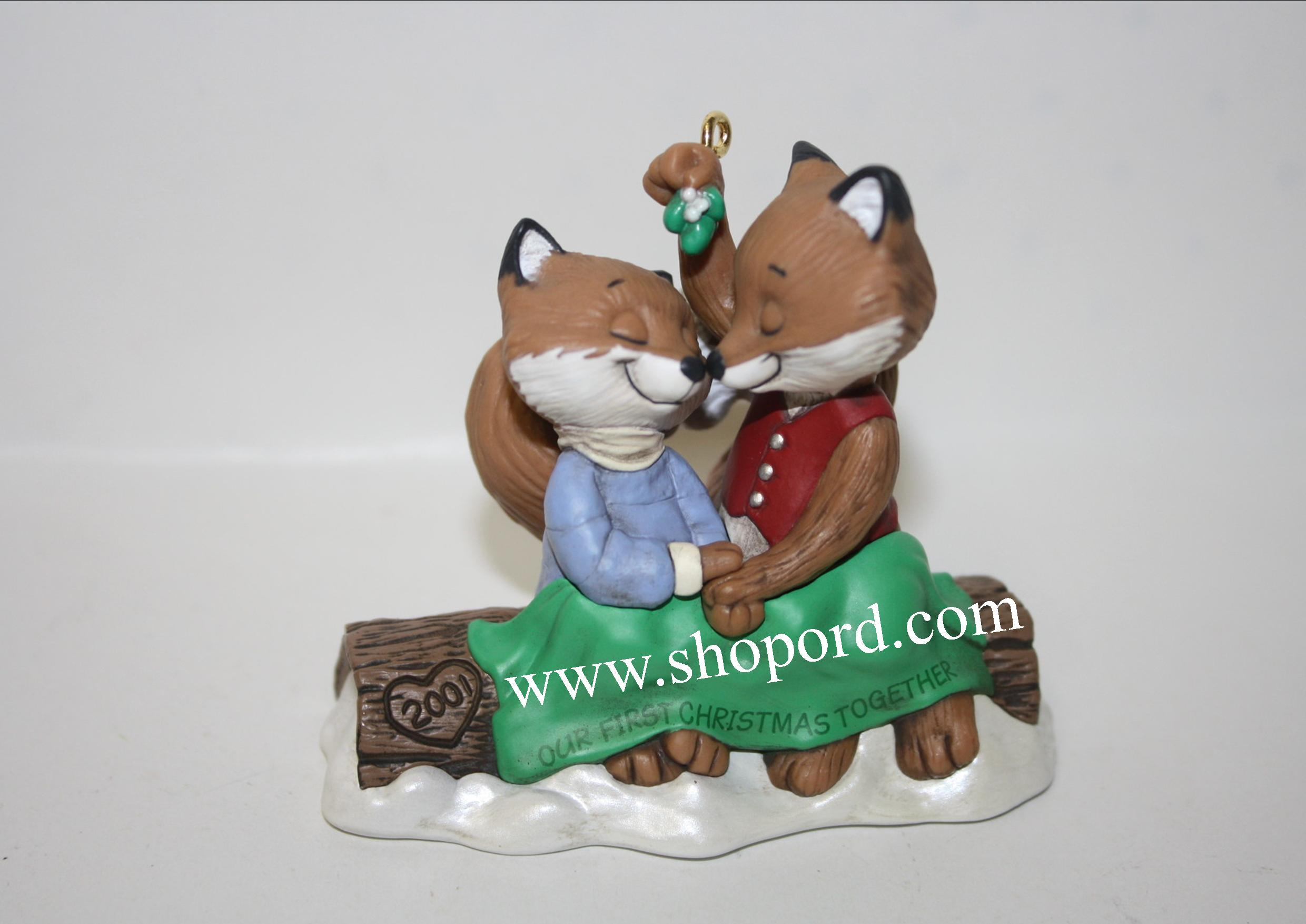 Hallmark 2001 Our First Christmas Together Fox Ornament Qx8405 Damaged Box