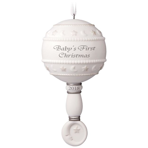 Hallmark 2018 Keepsake Baby's First Christmas Ornament - Rattle QHX4016