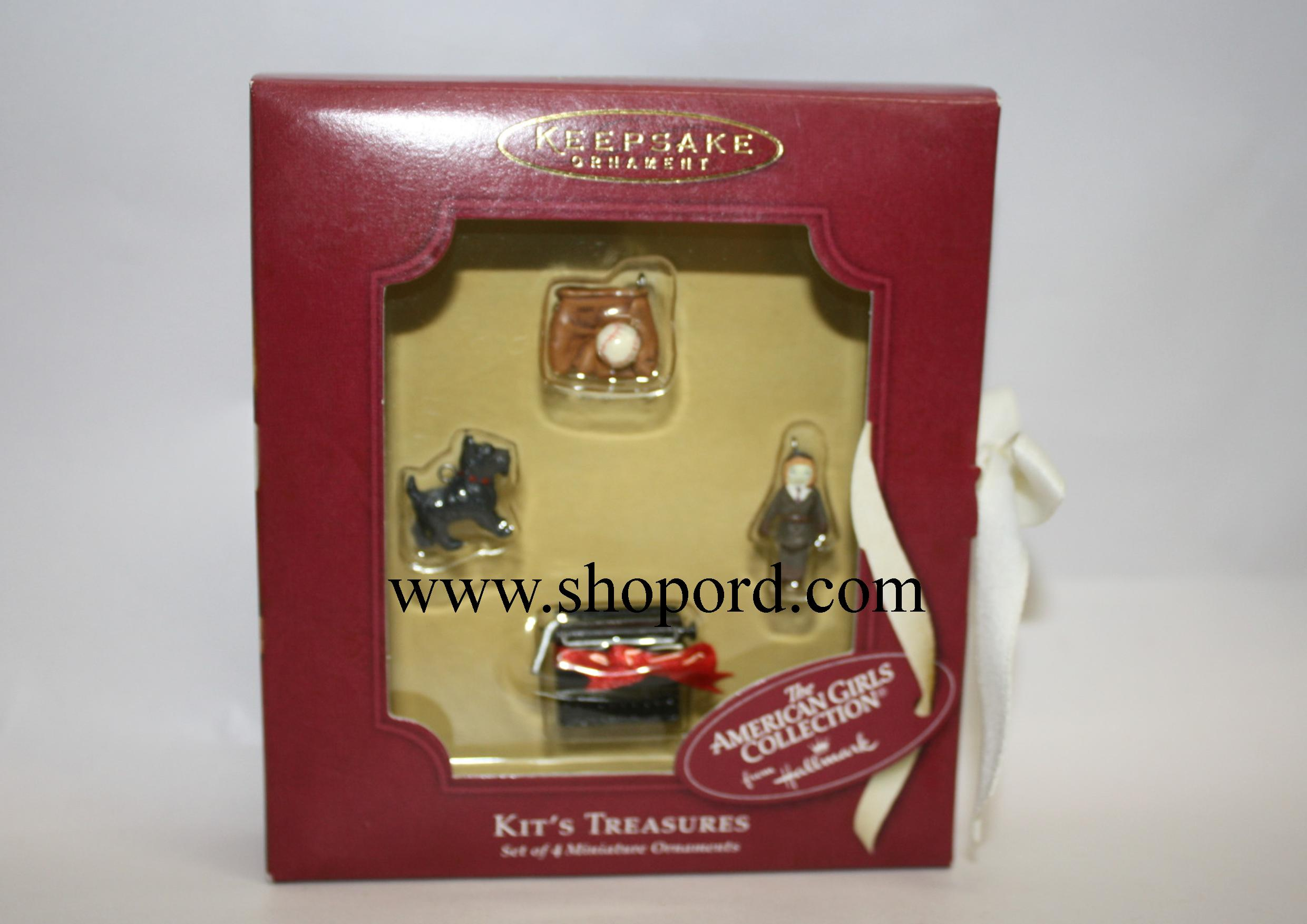 Hallmark 2002 American Girl Kits Treasures set of 4 Miniature Ornament QAC6408