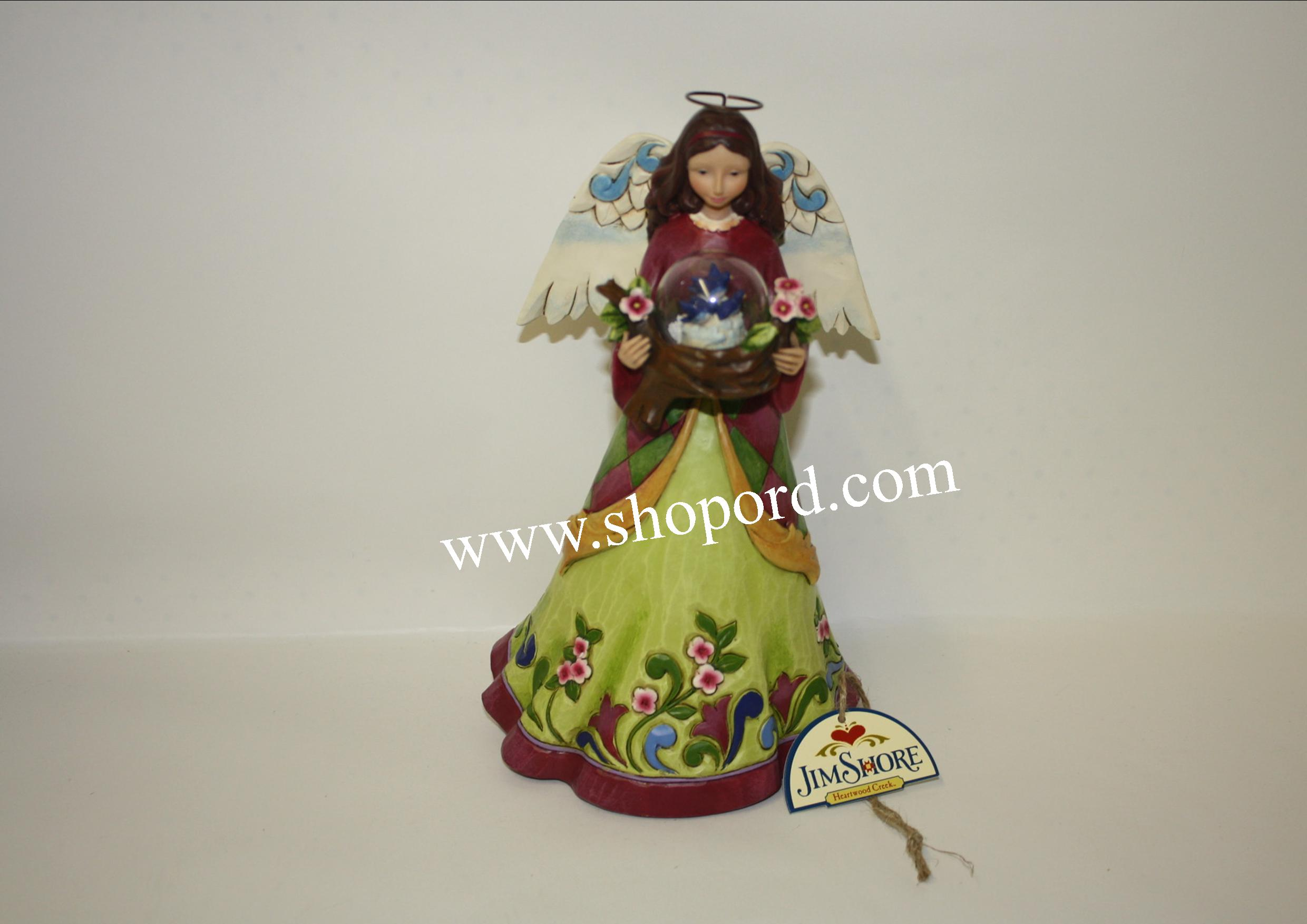 Jim Shore Enesco Angel Figurine With Bird In Glass Dome A Bird In The Hand 4047055
