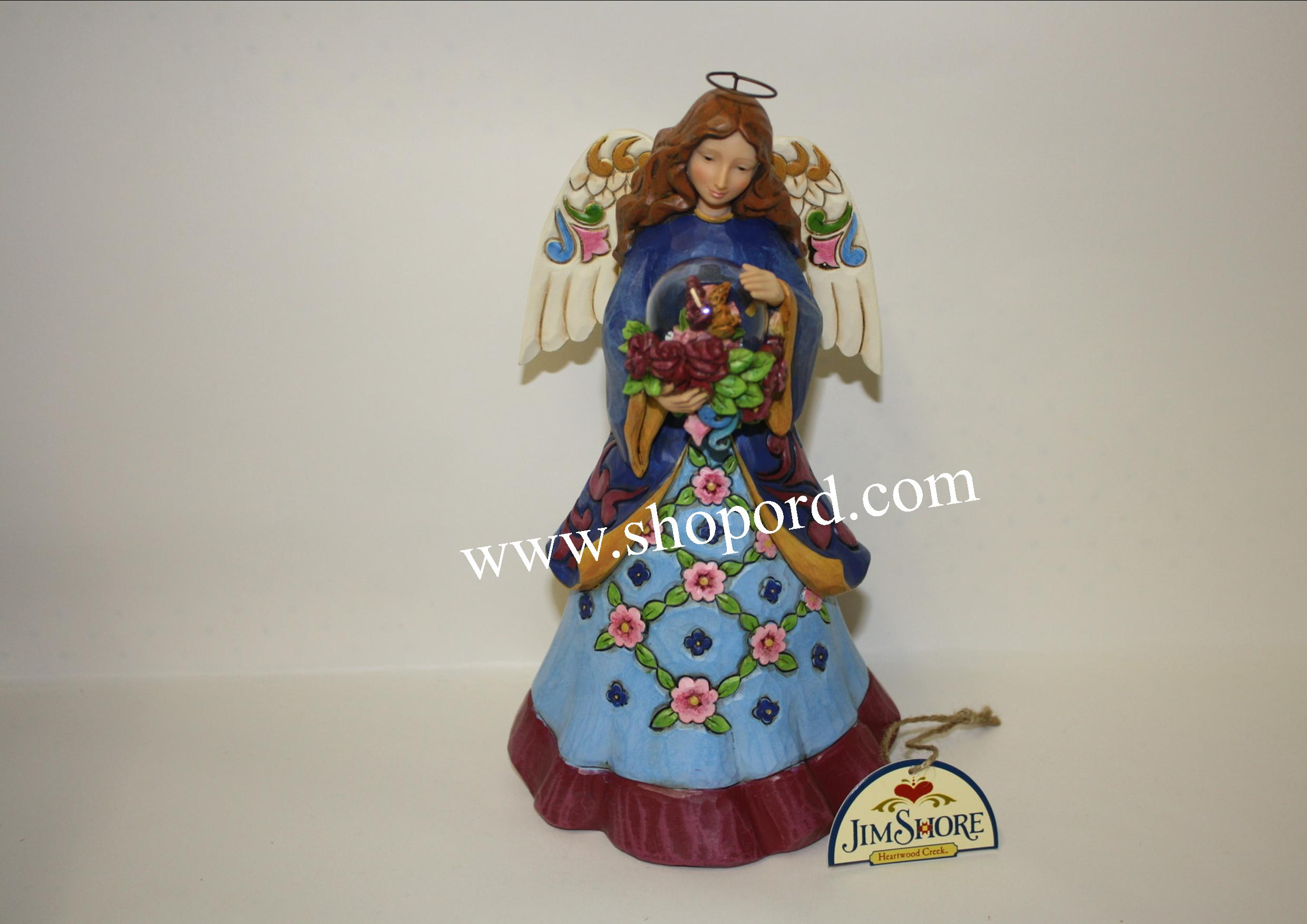Jim Shore Enesco Angel Figurine With Flowers In Glass Dome Beauty Blooms From Within 4047070