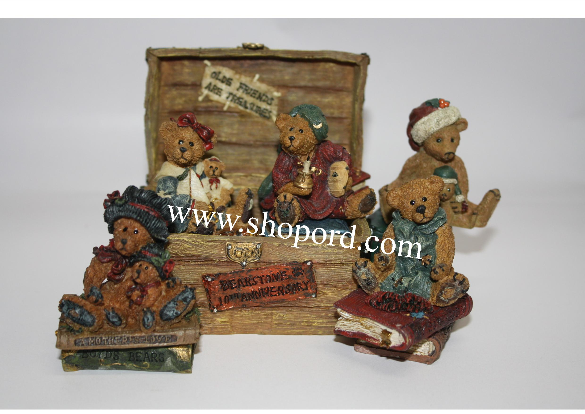 Boyds Bears - Bailey's Ol'Trunk Bearstone 10th Anniversary set of 6 #02003-71