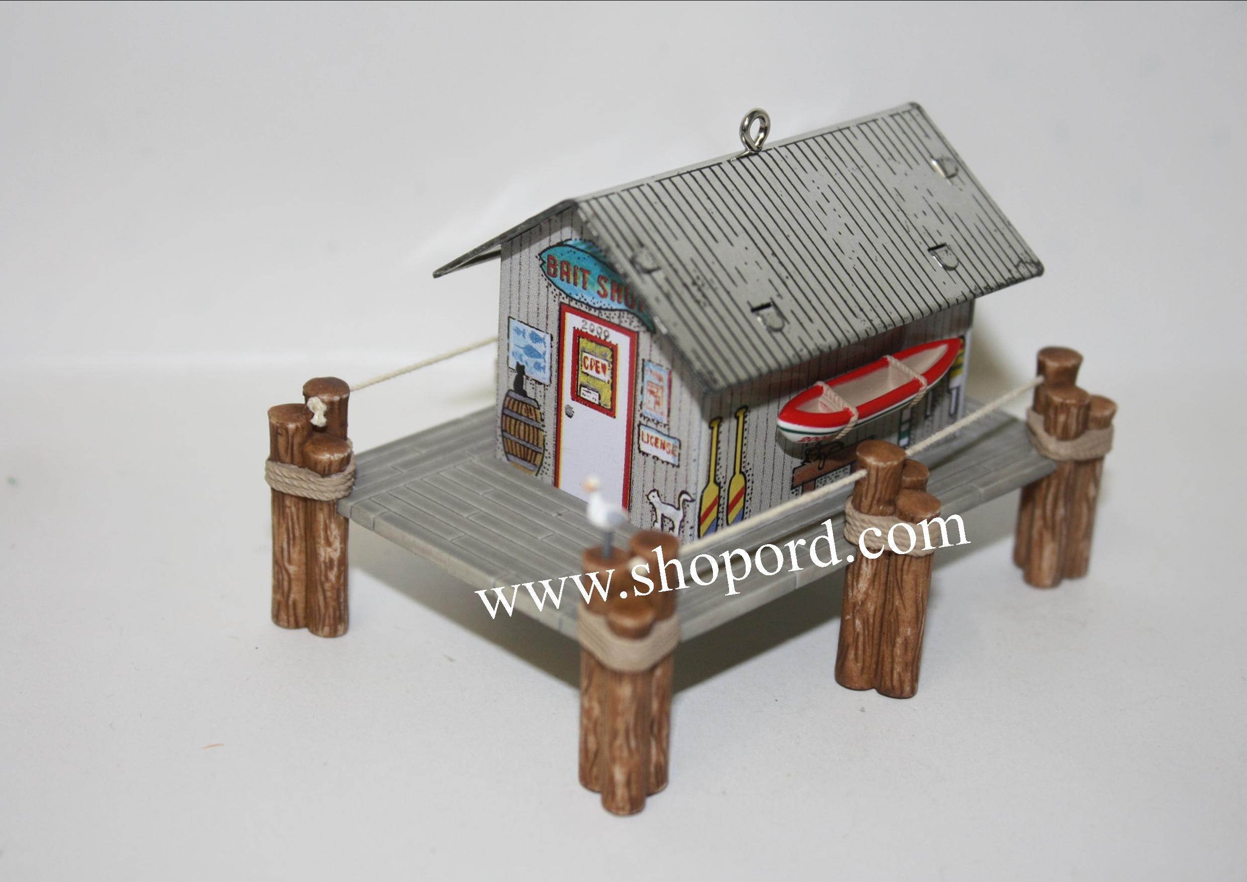 Hallmark 2000 Bait Shop With Boat Ornament 2nd In The Town and Country Series QX6631