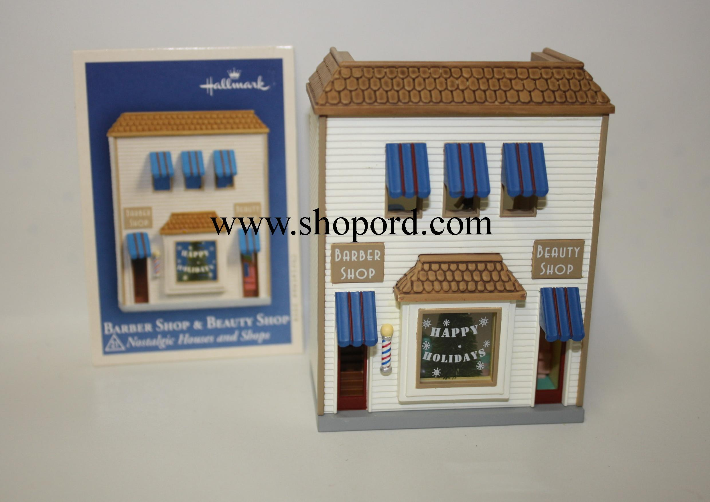 Hallmark 2004 Barber Shop and Beauty Shop Ornament 21st in the Nostalgic Houses and Shops Series QX8181