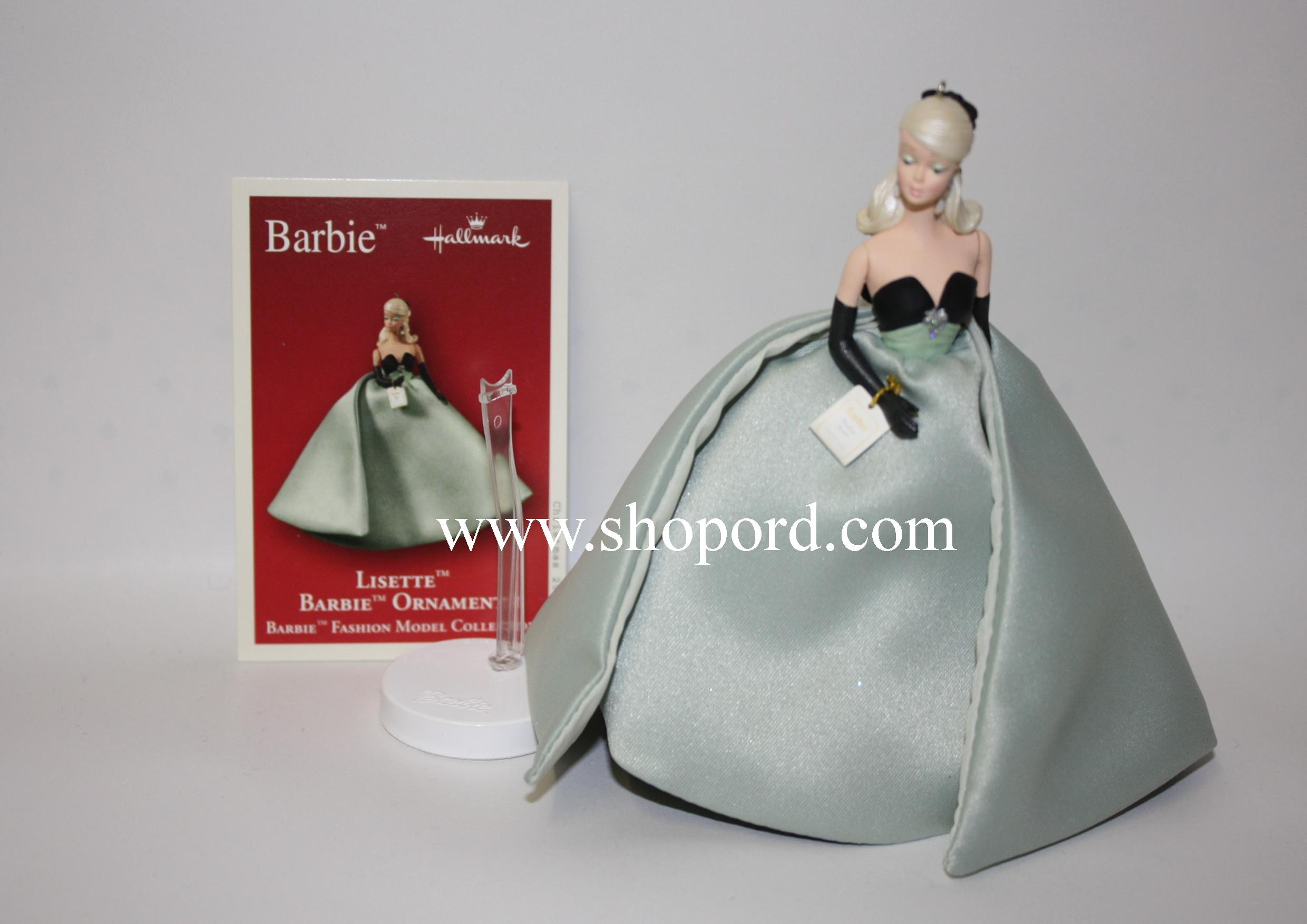 Hallmark 2004 Barbie Lisette Fashion Model Ornament with display stand QXI8541
