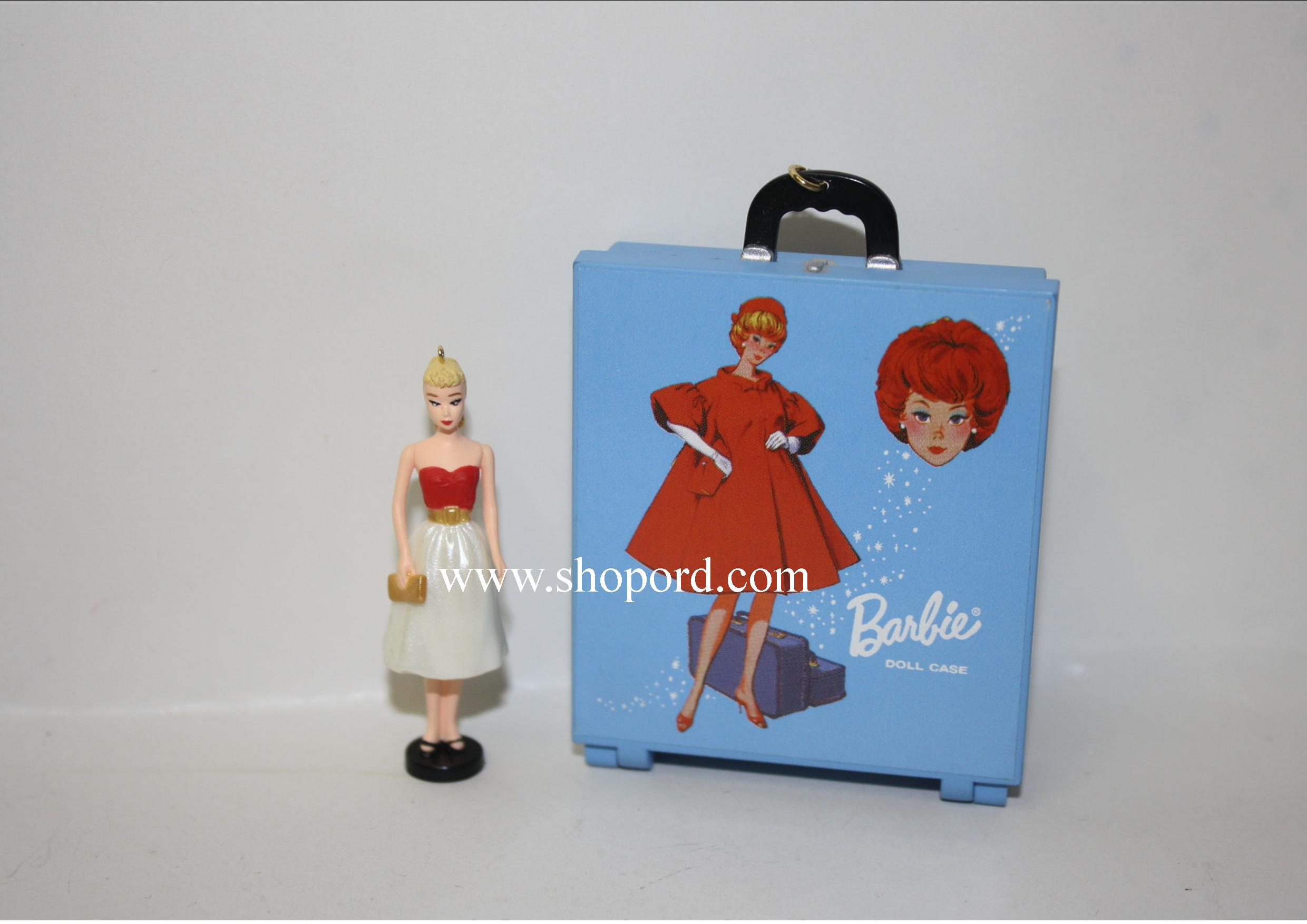 Hallmark 2000 Barbie Silken Flame Miniature Ornament And Travel Case Set of 2 QXM6031