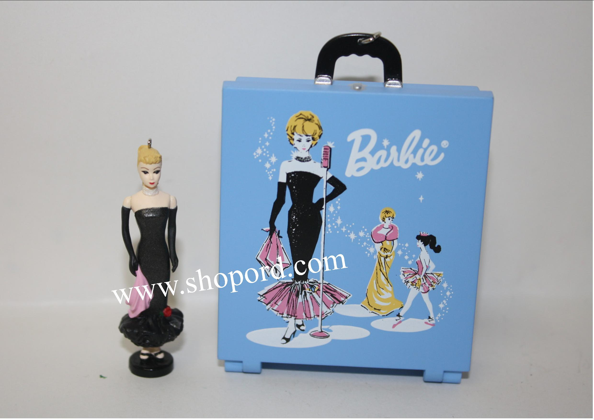 Hallmark 2001 Barbie Solo In The Spotlight Case and Barbie Miniature Ornament set of 2 QXM5312