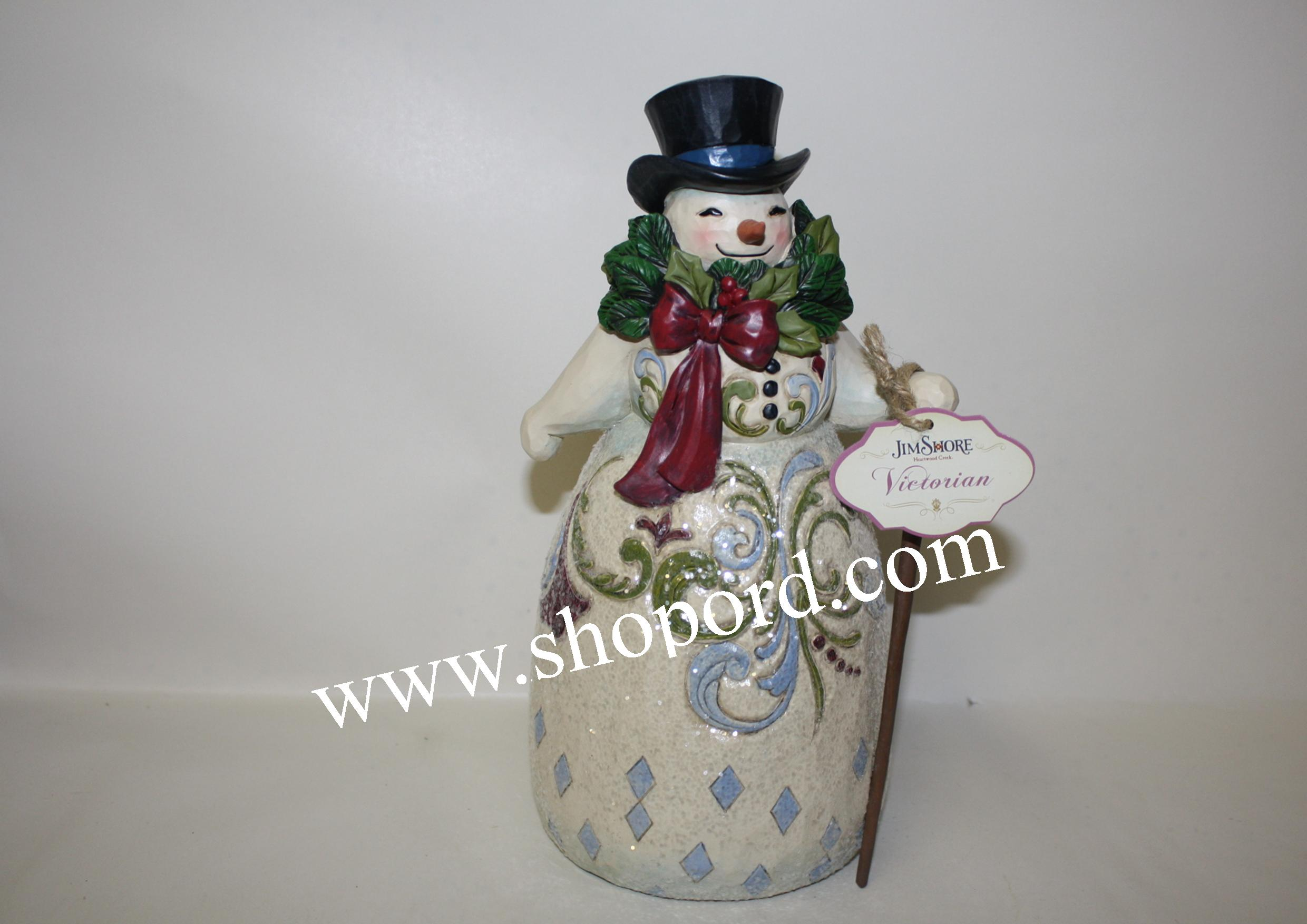 Jim Shore Be Joyful Always Victorian Snowman With Wreath Figurine 4053679