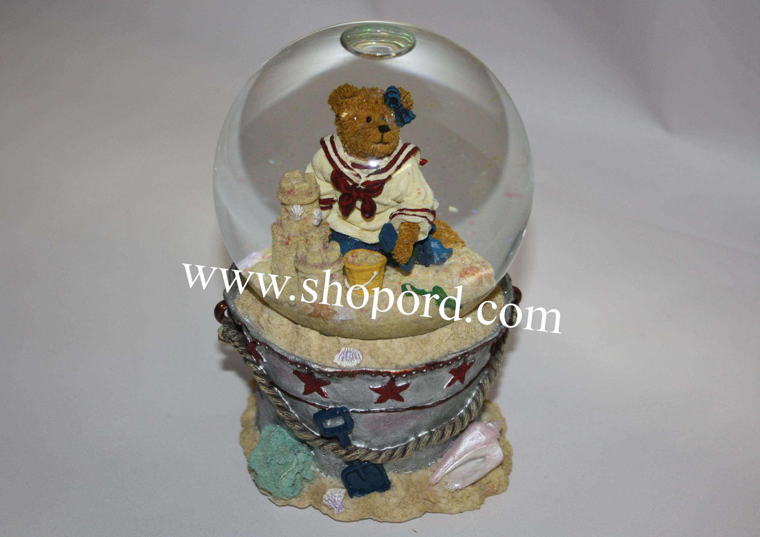 Boyds The Bearstone Collection - Bethany Sanditoes (A Day At The Beach) Water Globe Musical #270574