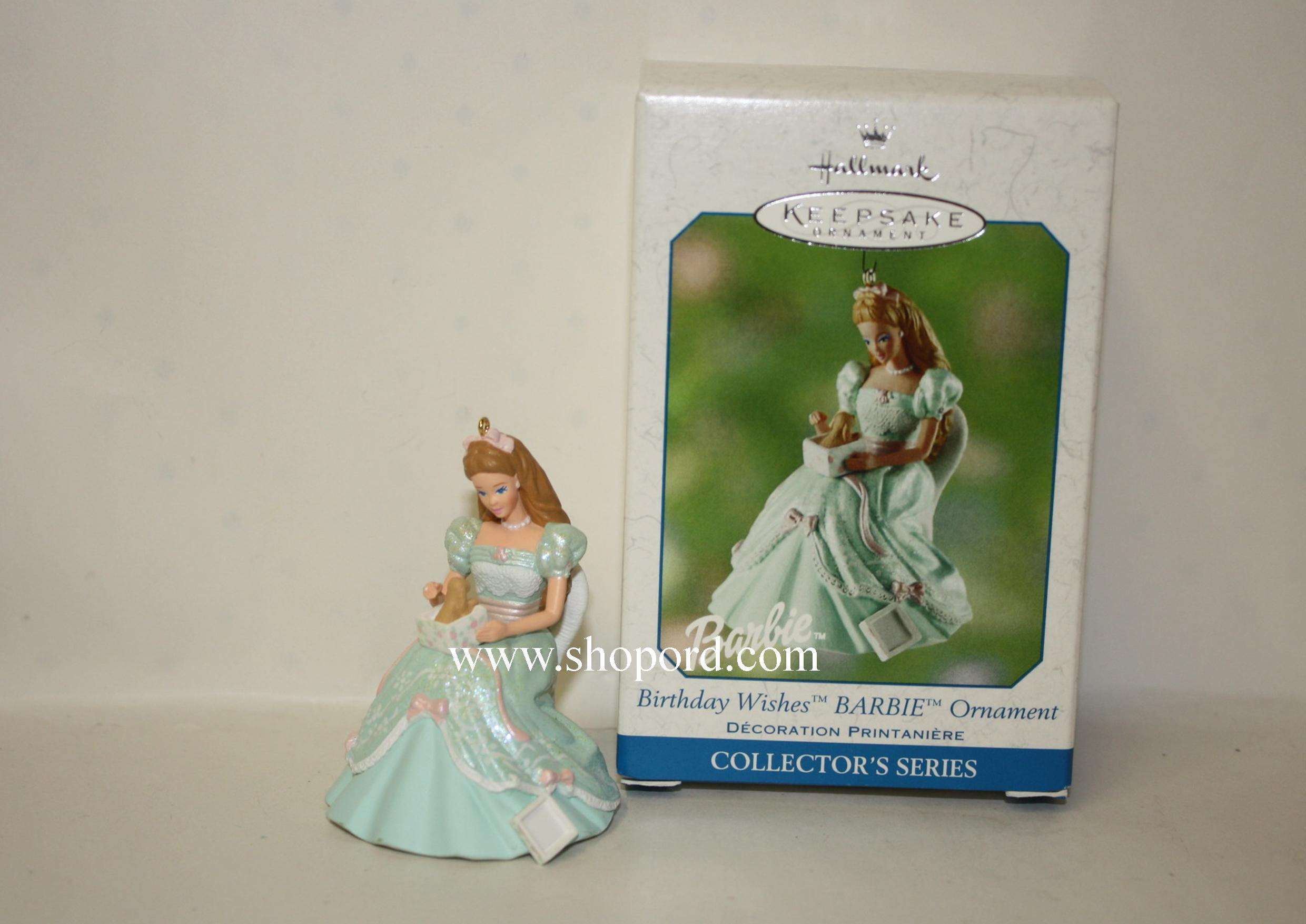 Hallmark 2002 Birthday Wishes Barbie Spring Ornament QEO8513