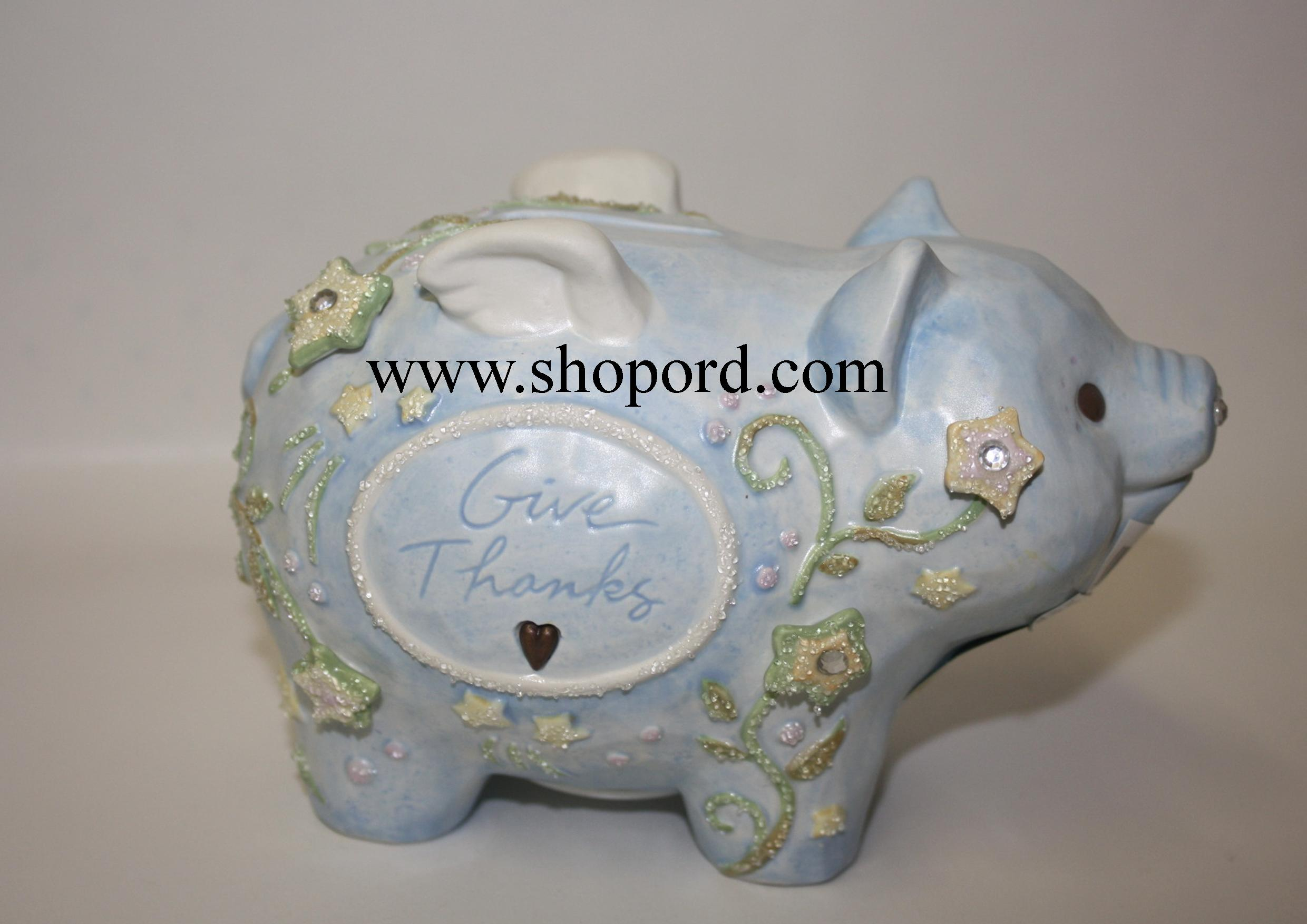 Enesco Foundations Blue Piggy Bank 4003354