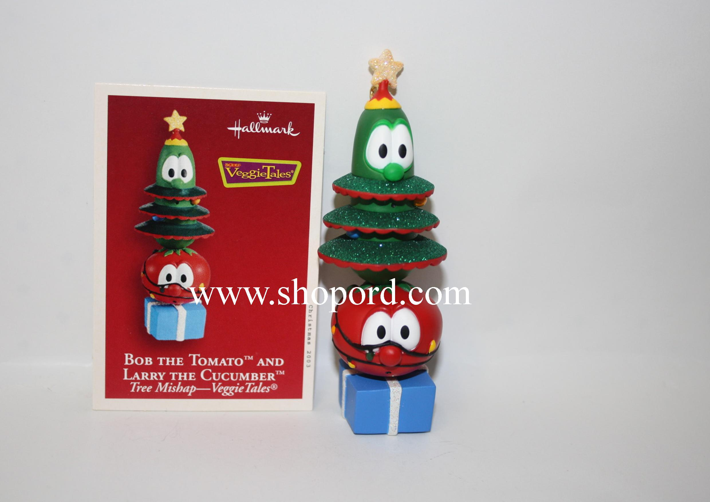 Hallmark 2003 Bob The Tomato And Larry The Cucumber Ornament Tree Mishap Veggie Tales QXI4337