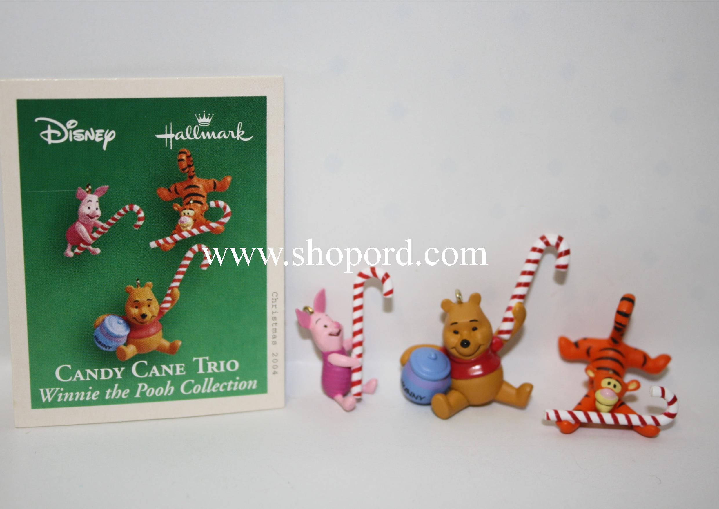 Hallmark 2004 Candy Cane Trio Disney Winnie the Pooh Collection set of 3 Miniature Ornament QXM5114