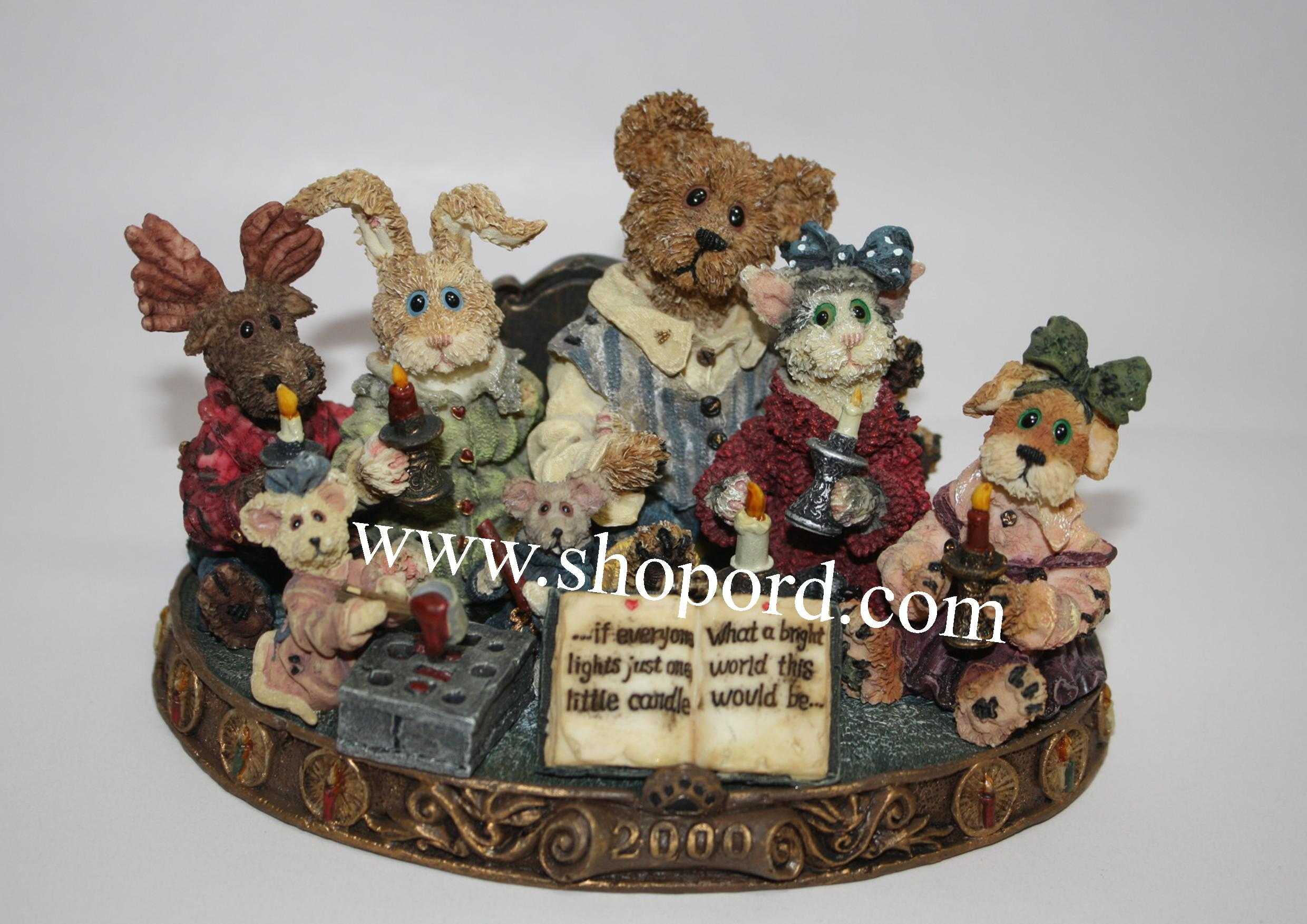 Boyds The Bearstone Collection - Chandler (bear), Mercy (moose), Felicity (rabbit), Constance (cat), Faith (dog), Y.K. & Tew (mice) Light A Candle For A Brighter World #227805