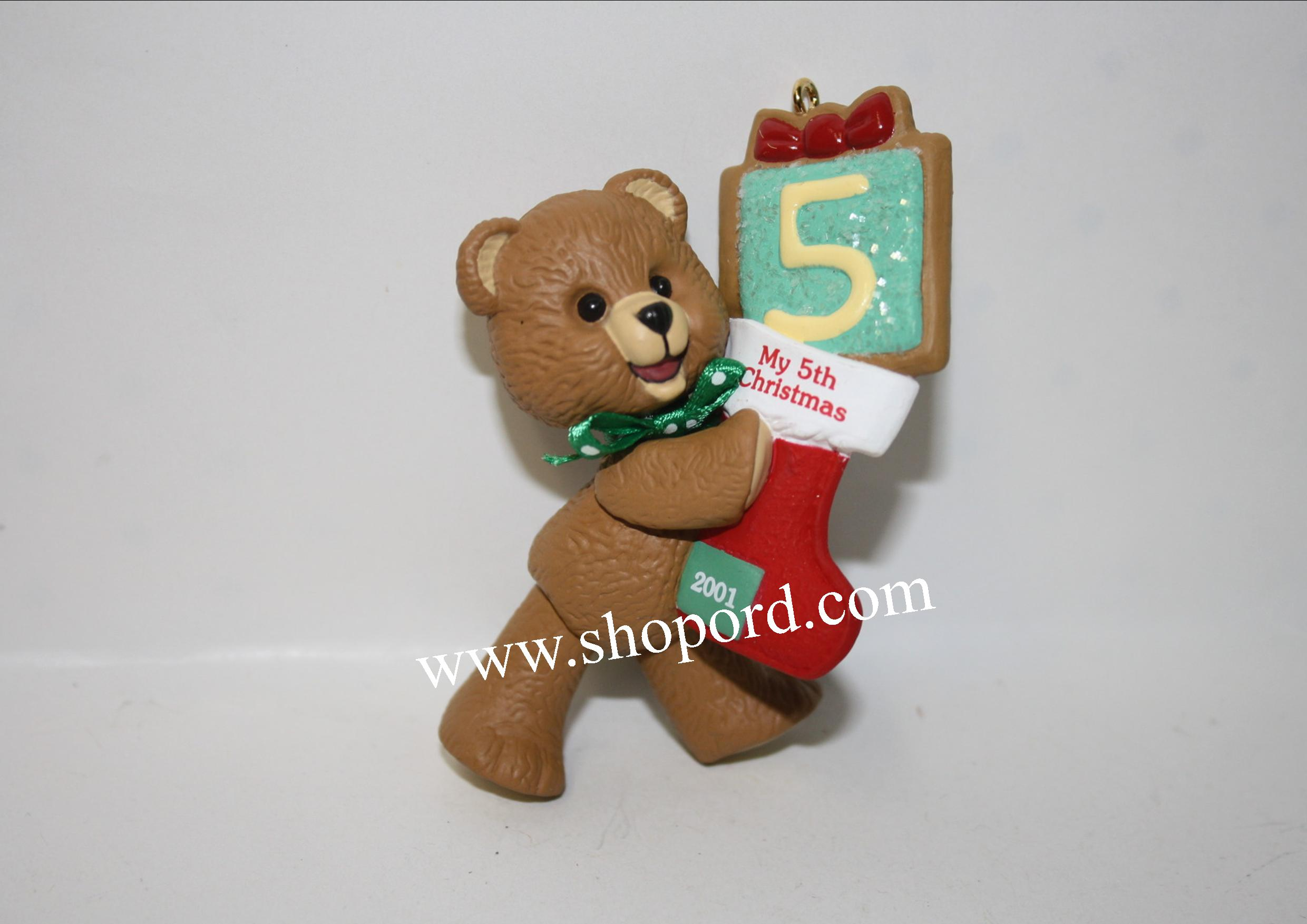 Hallmark 2001 Childs Fifth Christmas Ornament Childs Age Collection QX8395