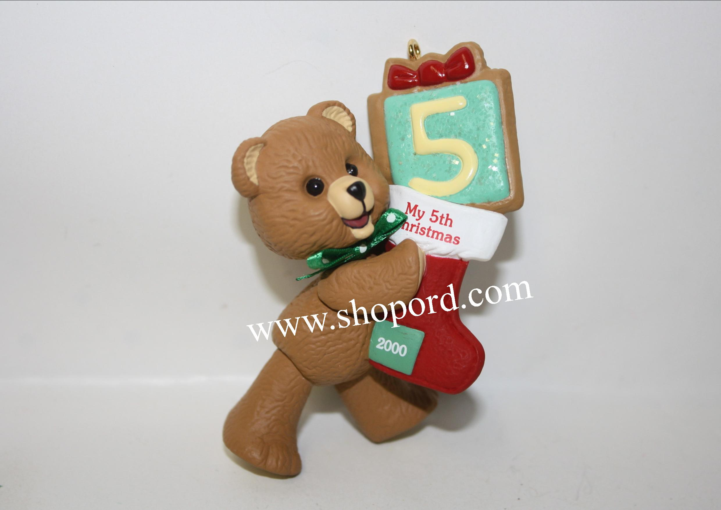 Hallmark 2000 Childs Fifth Christmas Ornament Childs Age Collection Teddy Bear Years QX6934 Damaged Box