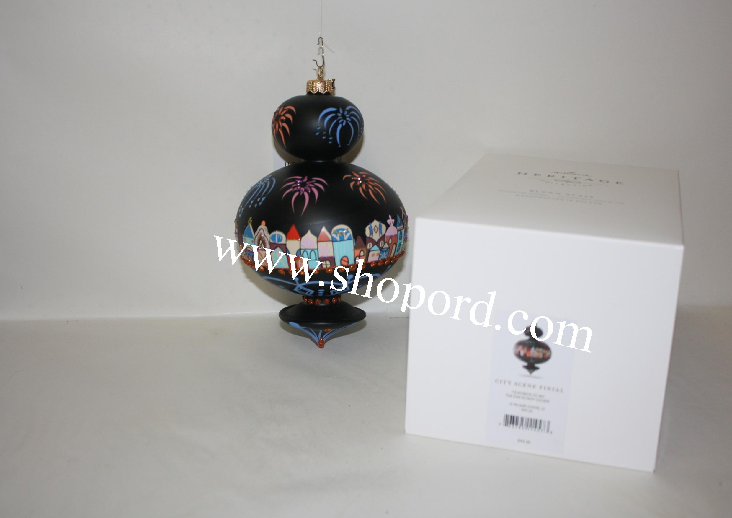 Hallmark 2016 City Scene Finial New Years Eve Heritage Collection Ornament HDR1530 Damaged Box