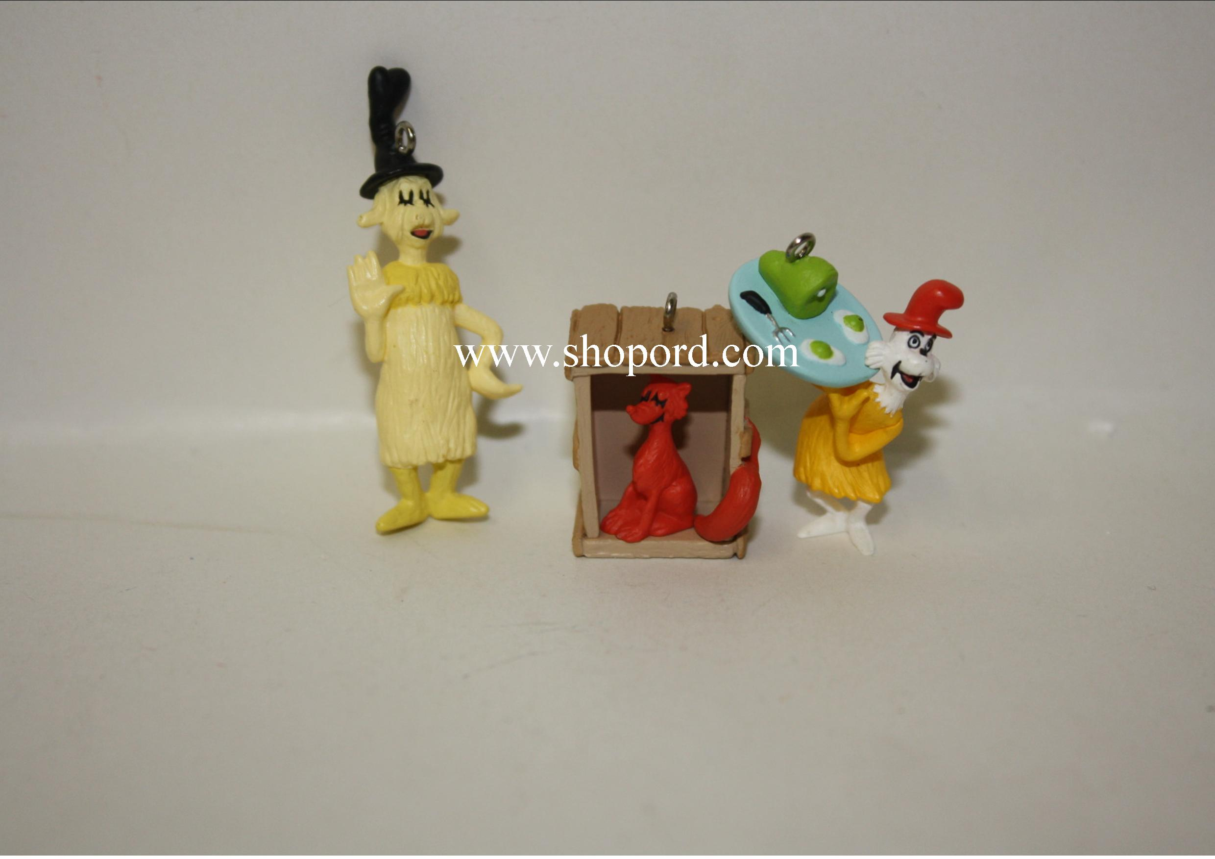 Hallmark 2000 Dr Seuss Green Eggs And Ham Set of 3 Miniature Ornament QXM6034