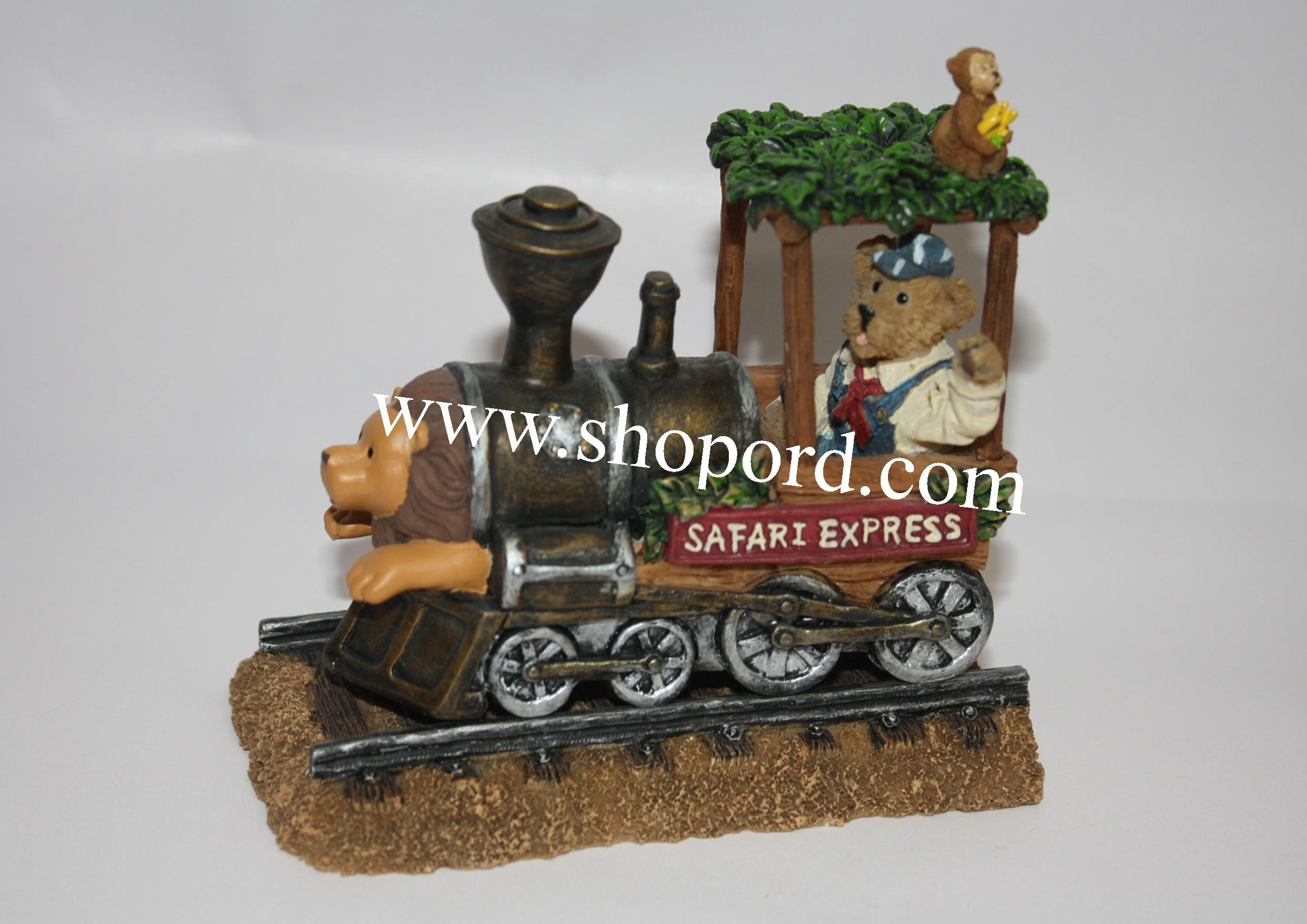 Boyds The Bearstone Collection - Ernest the Engineer and The Safari Express Locomotive (All Aboard!) #4015180