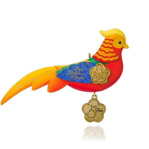 Hallmark 2015 Five Golden Rings Pheasant Ornament 5th In The Twelve Days Of Christmas Series QX9179