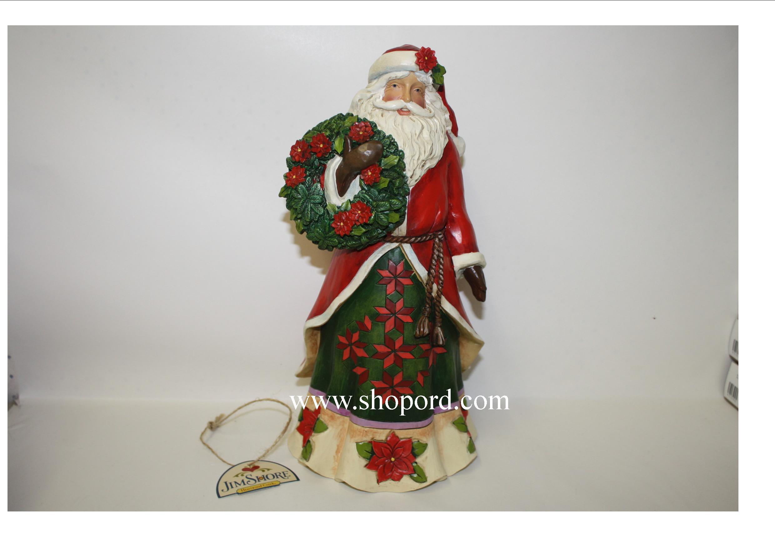 Jim Shore Flowering Festivity Poinsettia Santa Figurine 4046762
