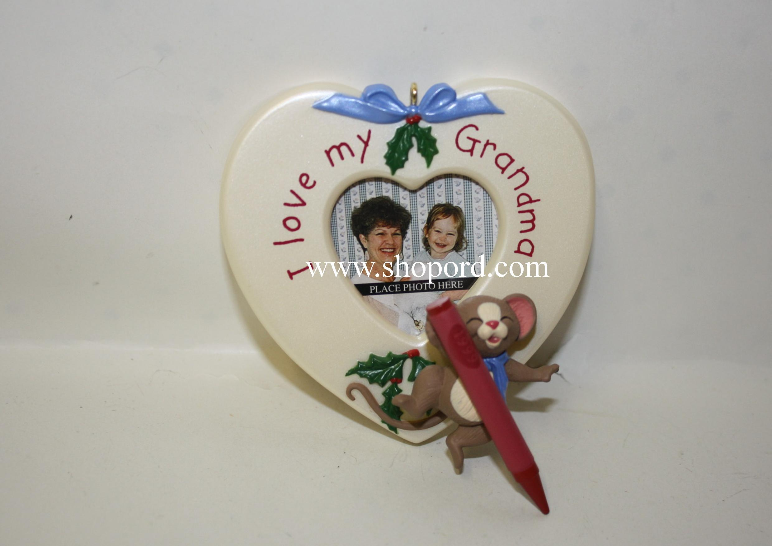 Hallmark 1999 For My Grandma Ornament Photo Holder QX6747 Slightly Bent Box