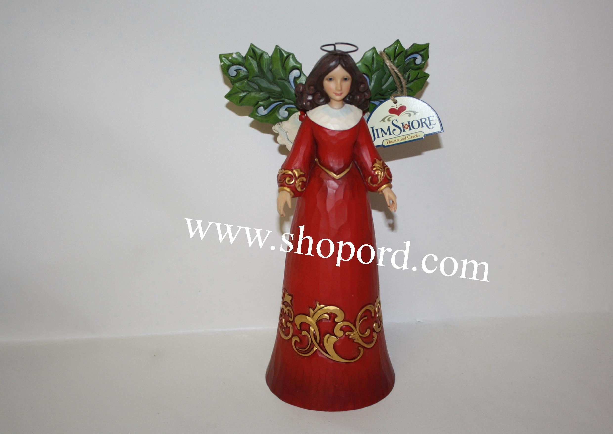 Jim Shore Fresh And Festive Angel With Holly Leaf Wings Figurine 4053719