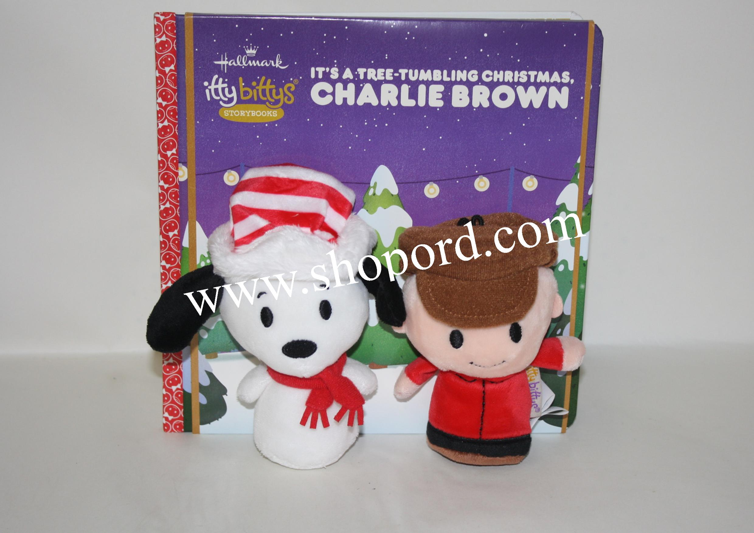 Hallmark itty bittys Peanuts Its A Tree Tumbling Christmas Charlie Brown Plush & Hardcover Book Bundle KDD1135