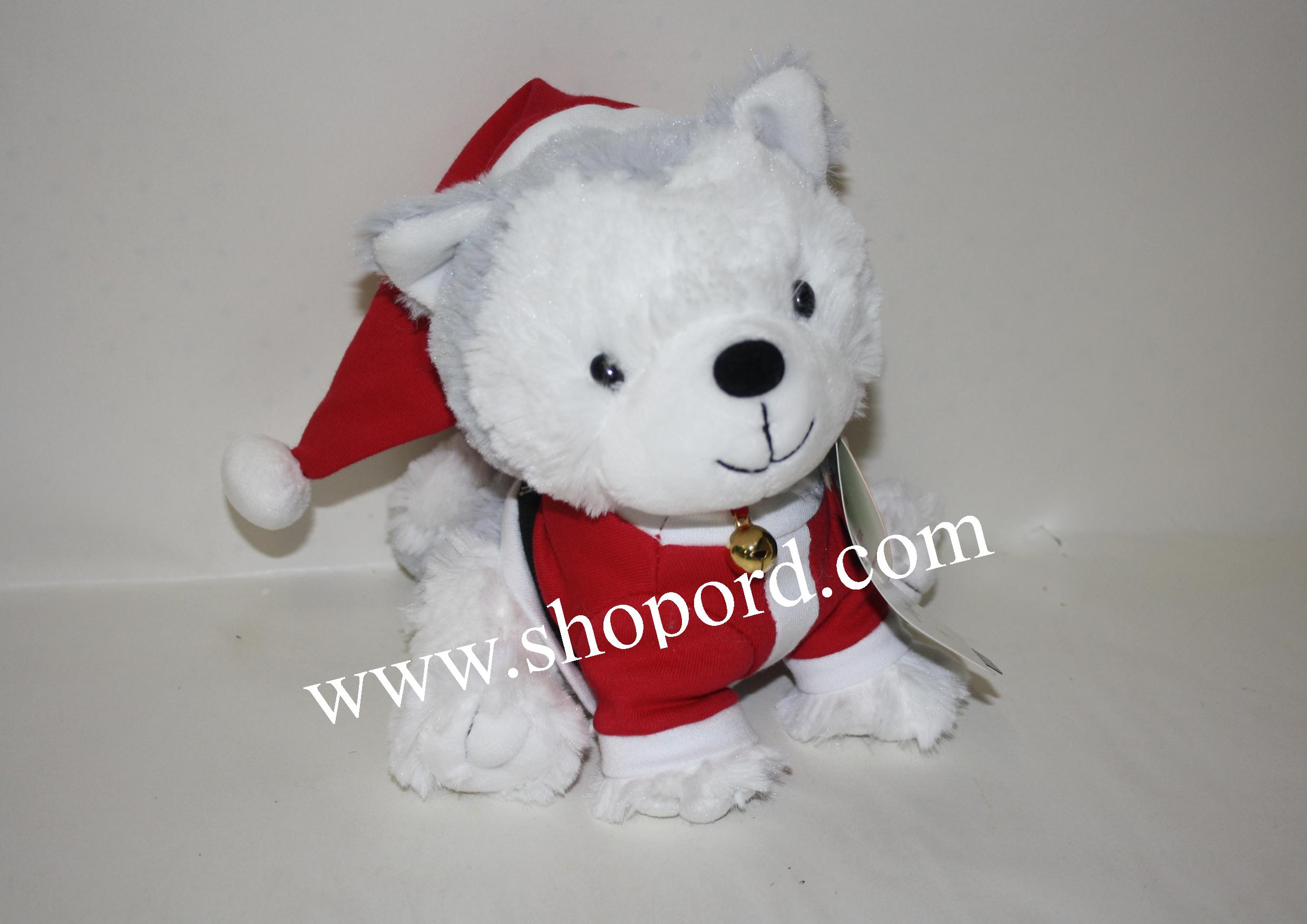 Hallmark Jingle Husky Plush Pup In Santa Suit XKT1683