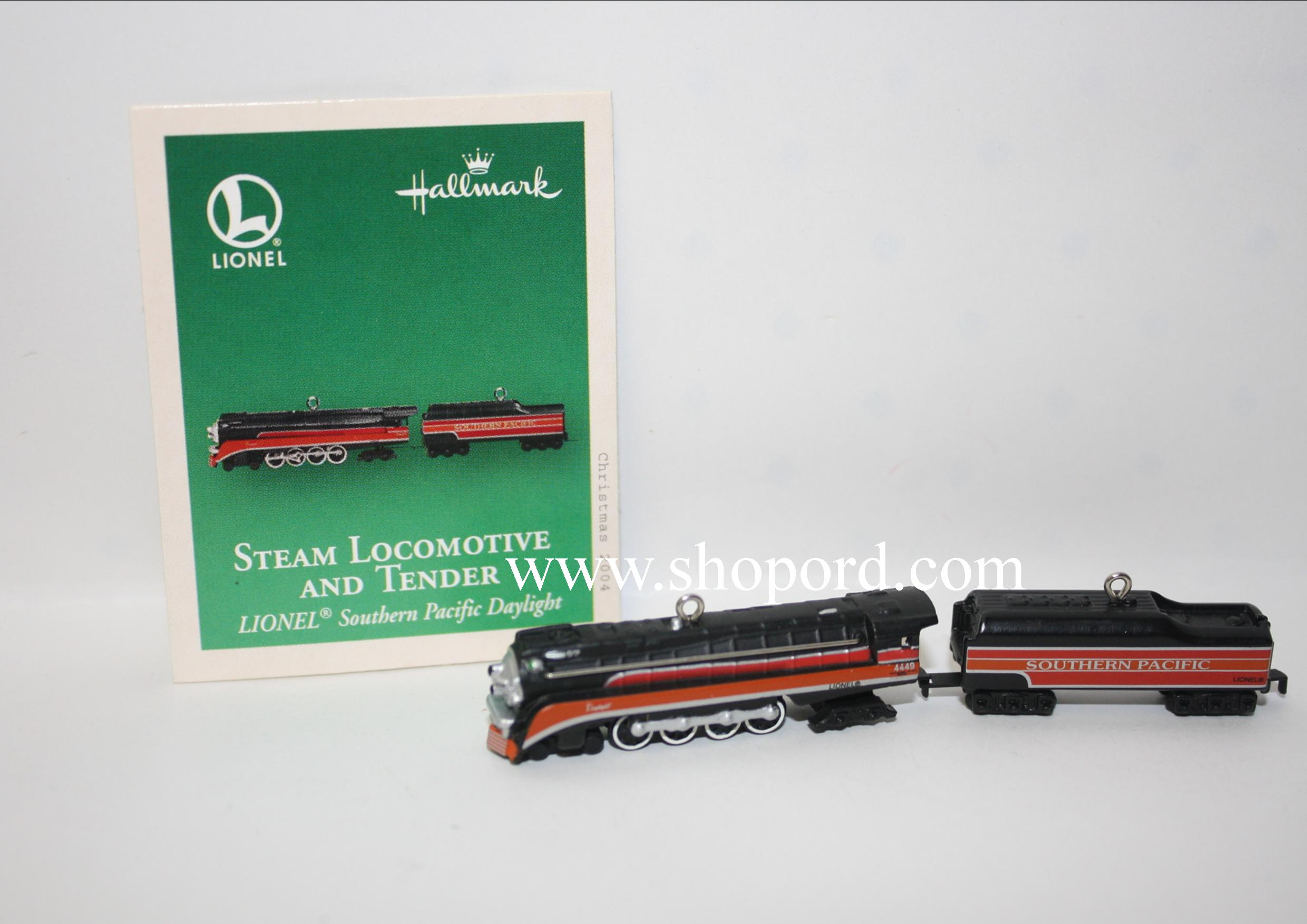 Hallmark 2004 Lionel Steam Locomotive And Tender set of 2 Lionel Southern Pacific Daylight Miniature Ornament QXM5131
