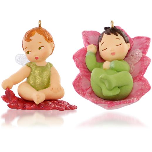 Hallmark 2015 Lotus And Poinsettia Baby Fairy Messengers Miniature Ornament 1st In The Baby Fairy Messengers Series Set of 2 QHG1207