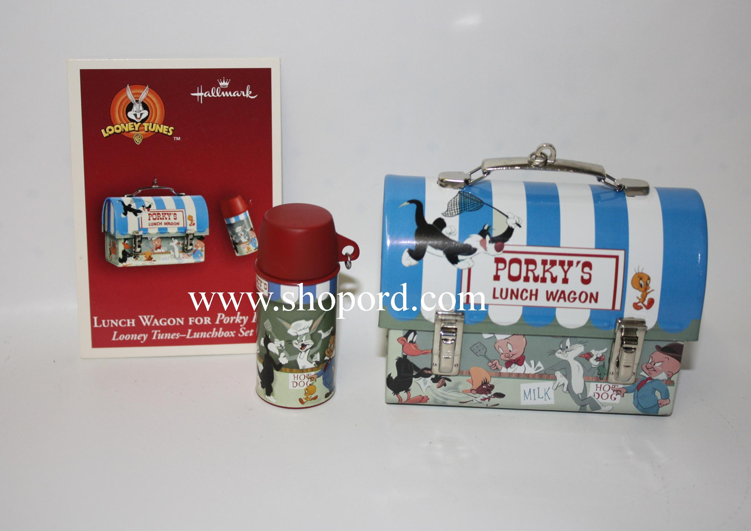 Hallmark 2004 Lunch Wagon For Porky Pig Ornament Looney Times Lunchbox set QXI4051