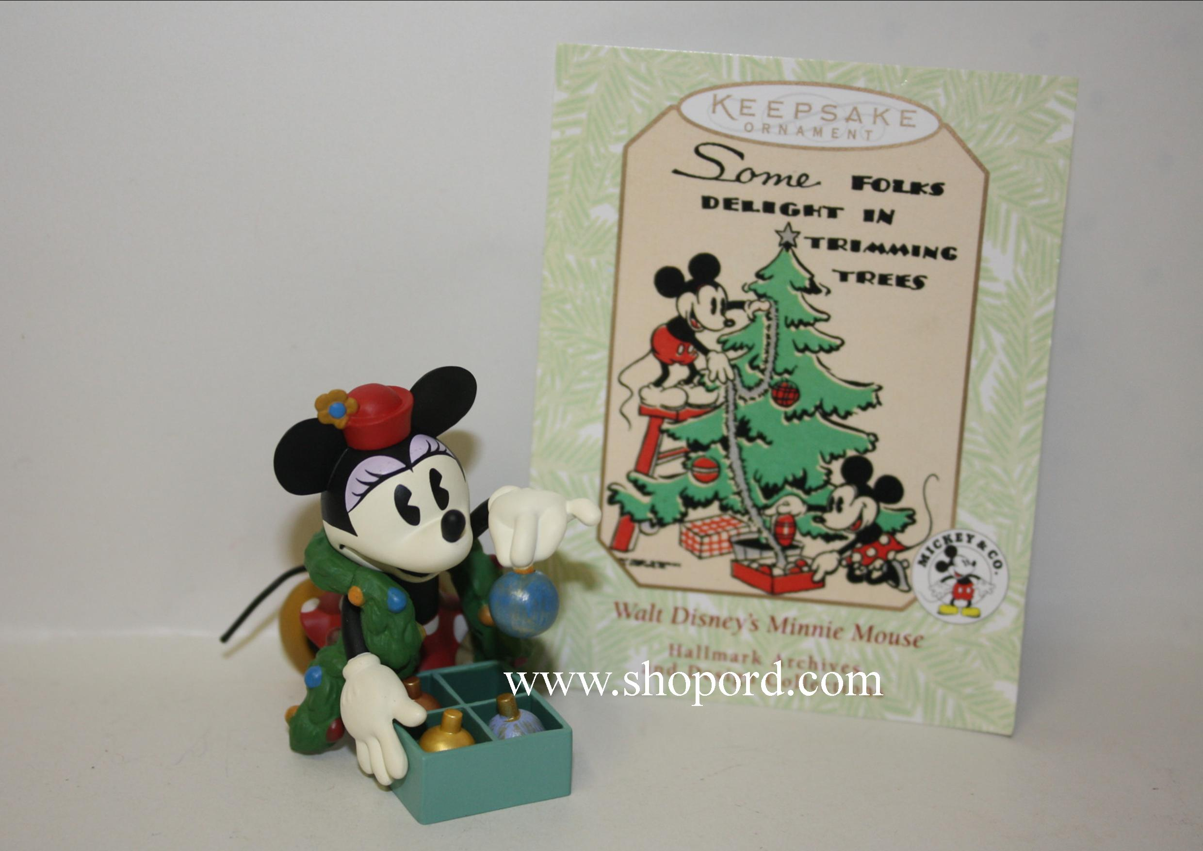 Hallmark 1999 Minnie Trims The Tree Disney Ornament 3rd And Final In The Hallmark Archives Series QXD4059