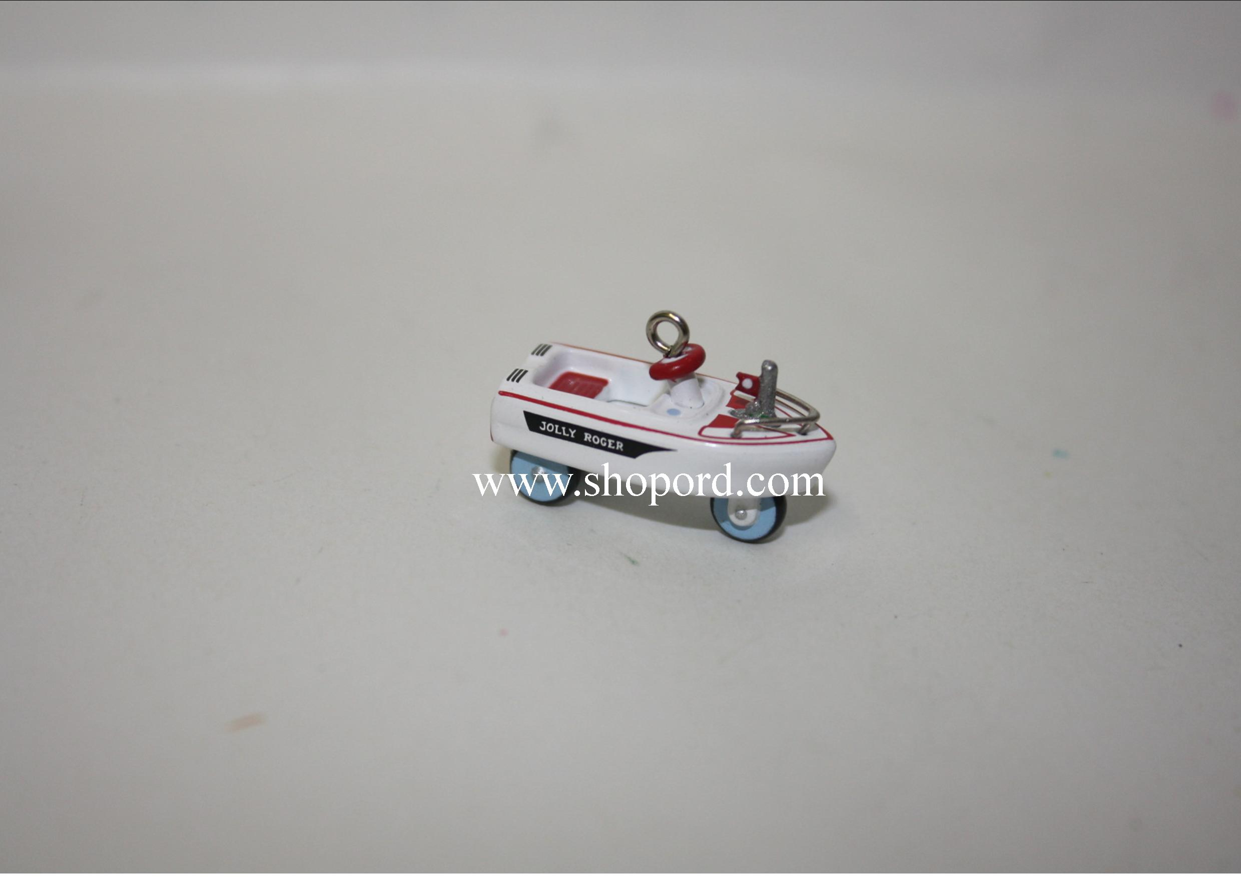 Hallmark 2000 Murray 1968 Jolly Roger Flagship Miniature Kiddie Car Classics Miniature Ornament 6th In The Series QXM5944
