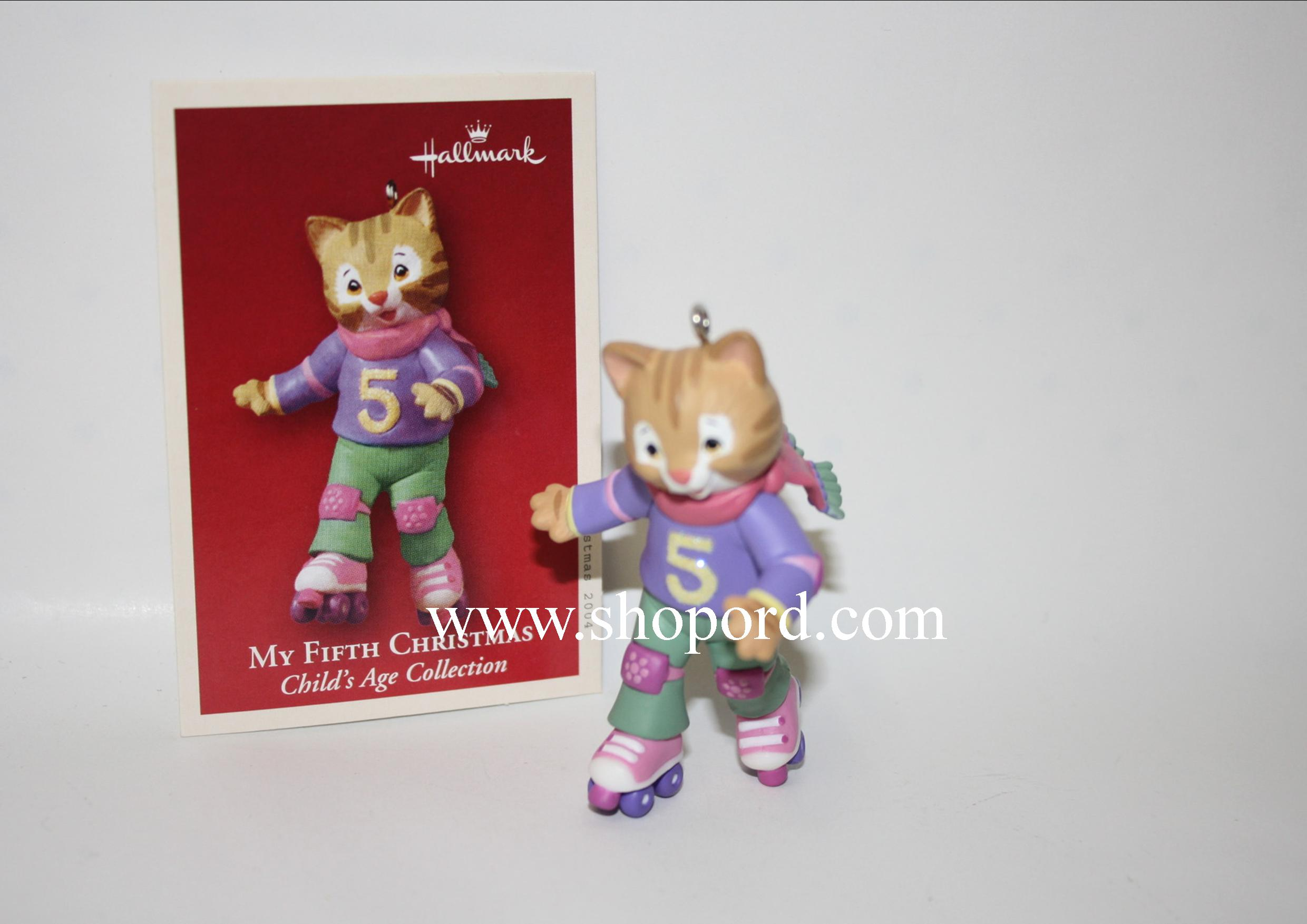 Hallmark 2004 My Fifth Christmas Childs Age Collection Girl Ornament QXG5704 Box Bent