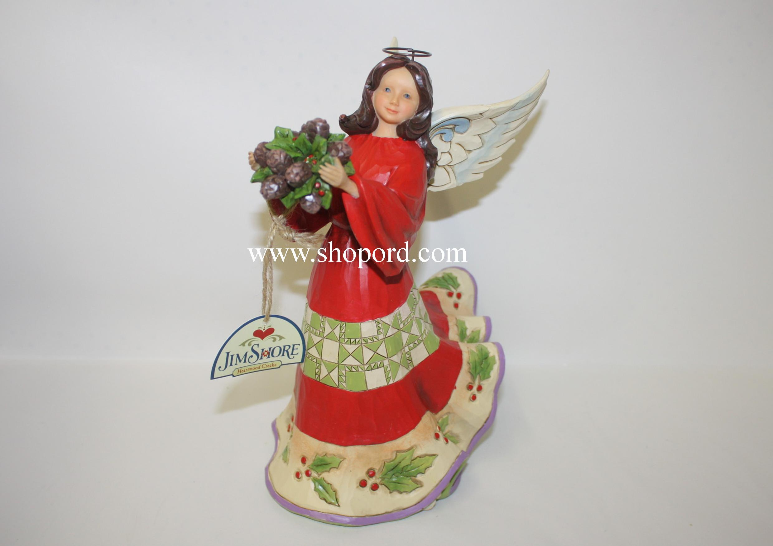 Jim Shore Naturally Festive Red Green Angel With Holly Figurine 4047761