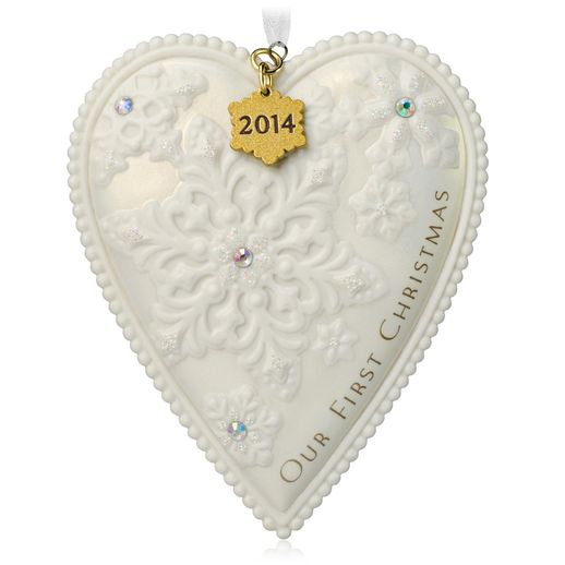 Hallmark 2014 Our First Christmas Heart Shaped Ornament QGO1156