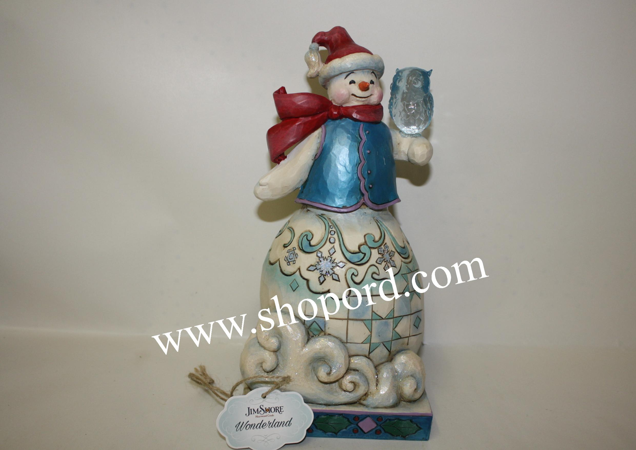 Jim Shore Our Friendship Never Melts Winter Wonderland Snowman Snowflakes With Owl Figurine 4053673