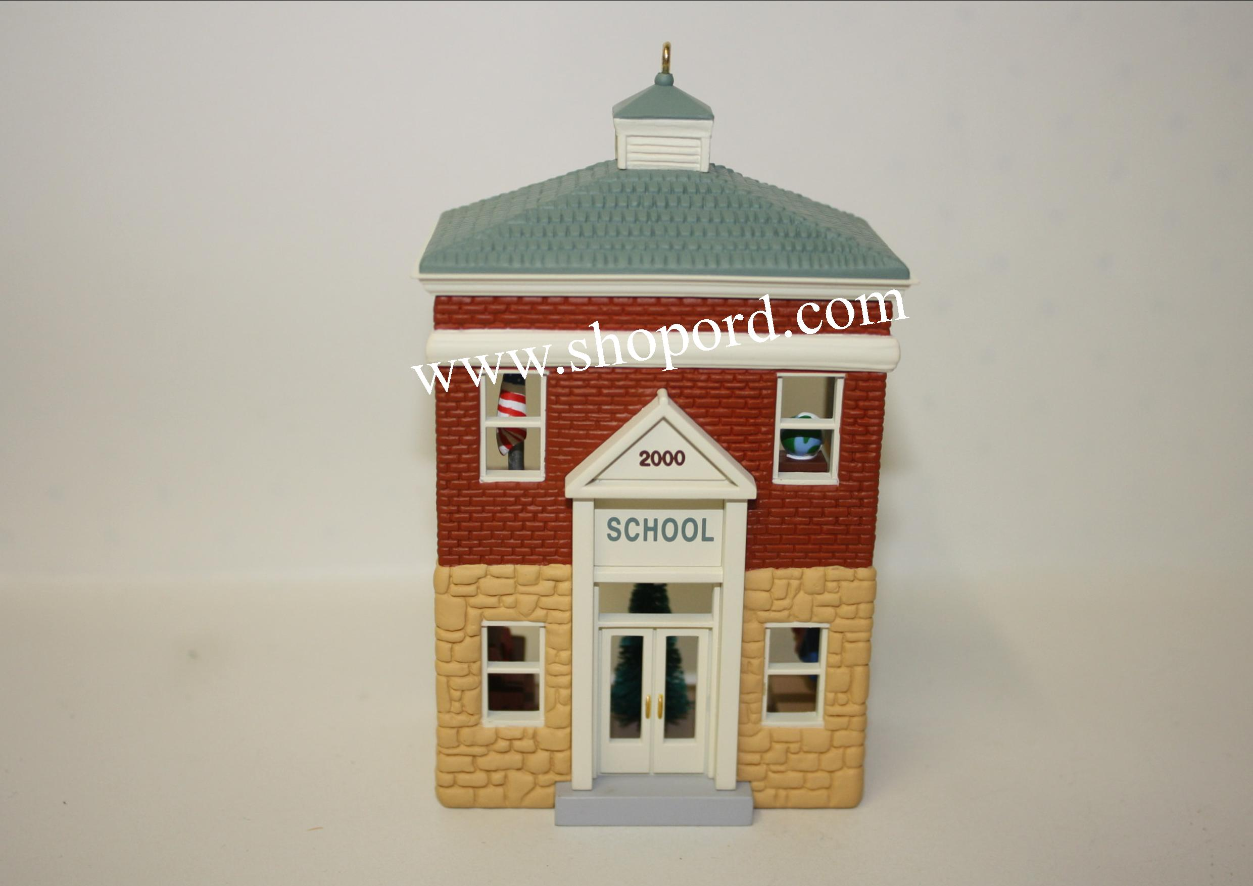 Hallmark 2000 Schoolhouse Ornament 17th In the Nostalgic Houses and Shops Series QX6591