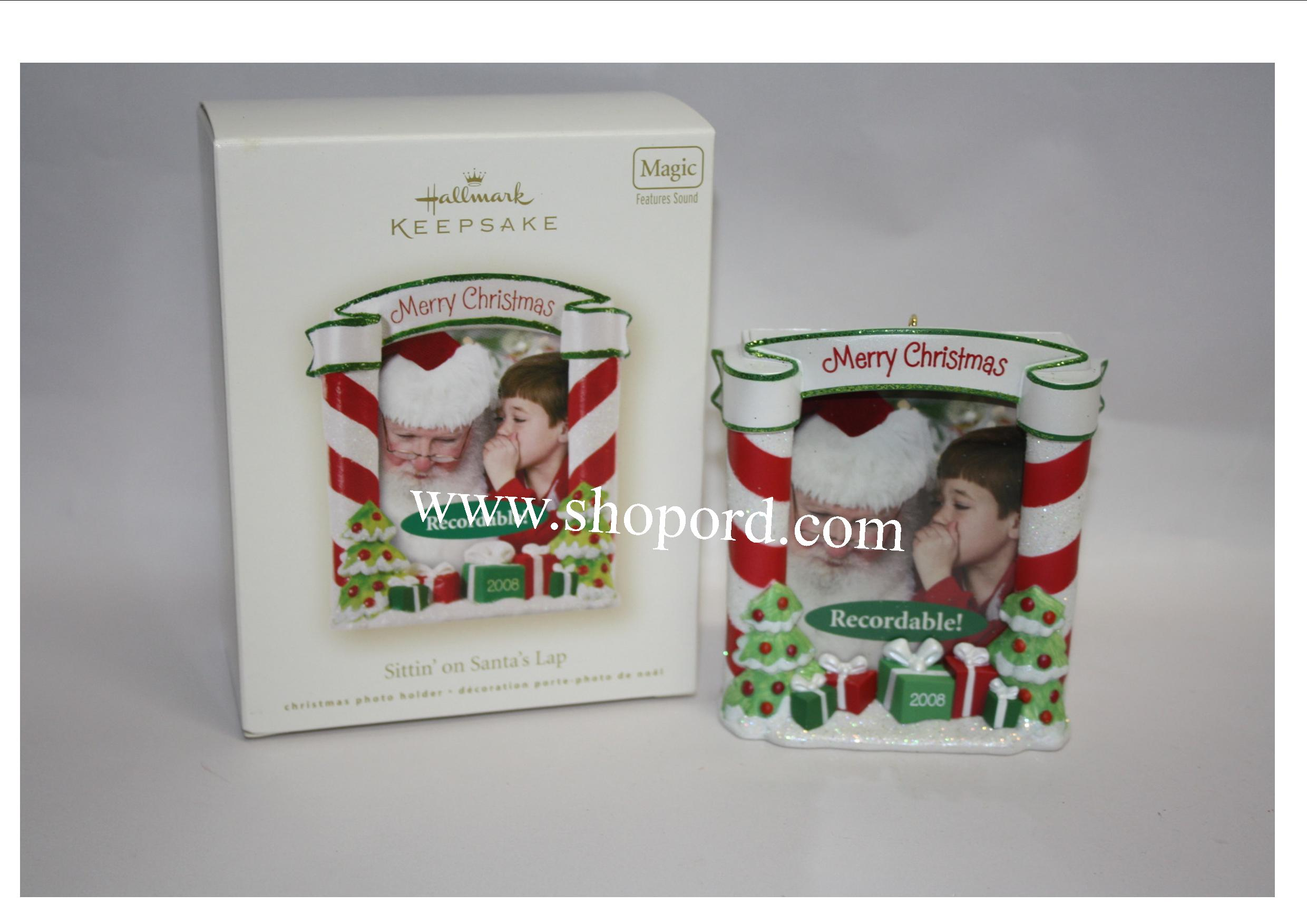 Hallmark 2008 Sittin on Santas Lap Photo Holder Ornament QXG7271 Damaged Box