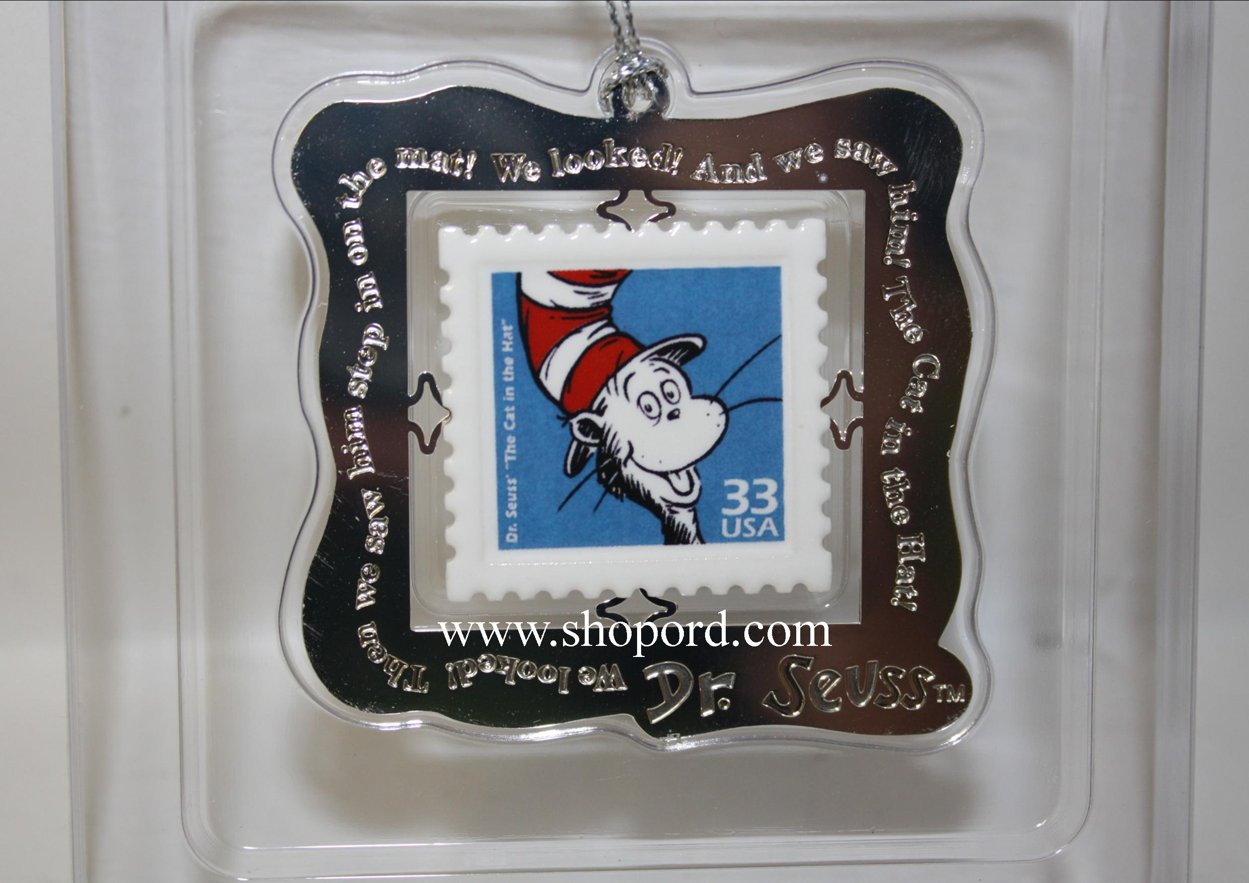 Hallmark 1999 The Cat In The Hat Stamp Ornament Dr Seuss Celebrate The Century Collection QXI8579