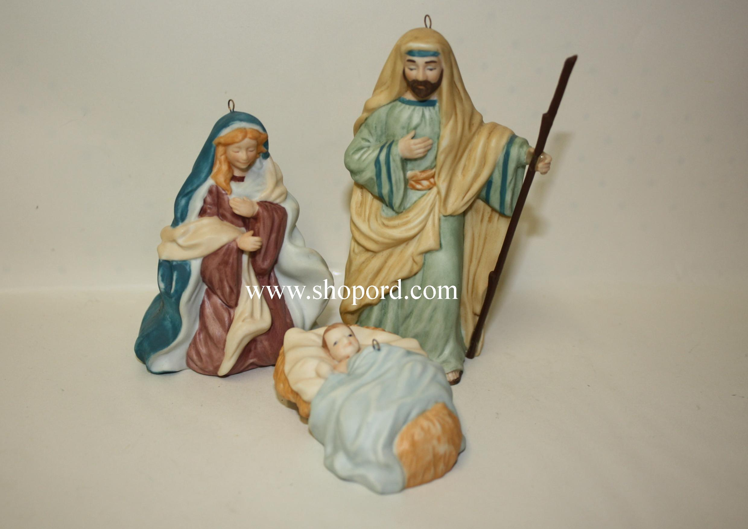 Hallmark 1998 The Holy Family Ornament Set of 3 Blessed Nativity Collection QX6523 Box Has Storage Wear