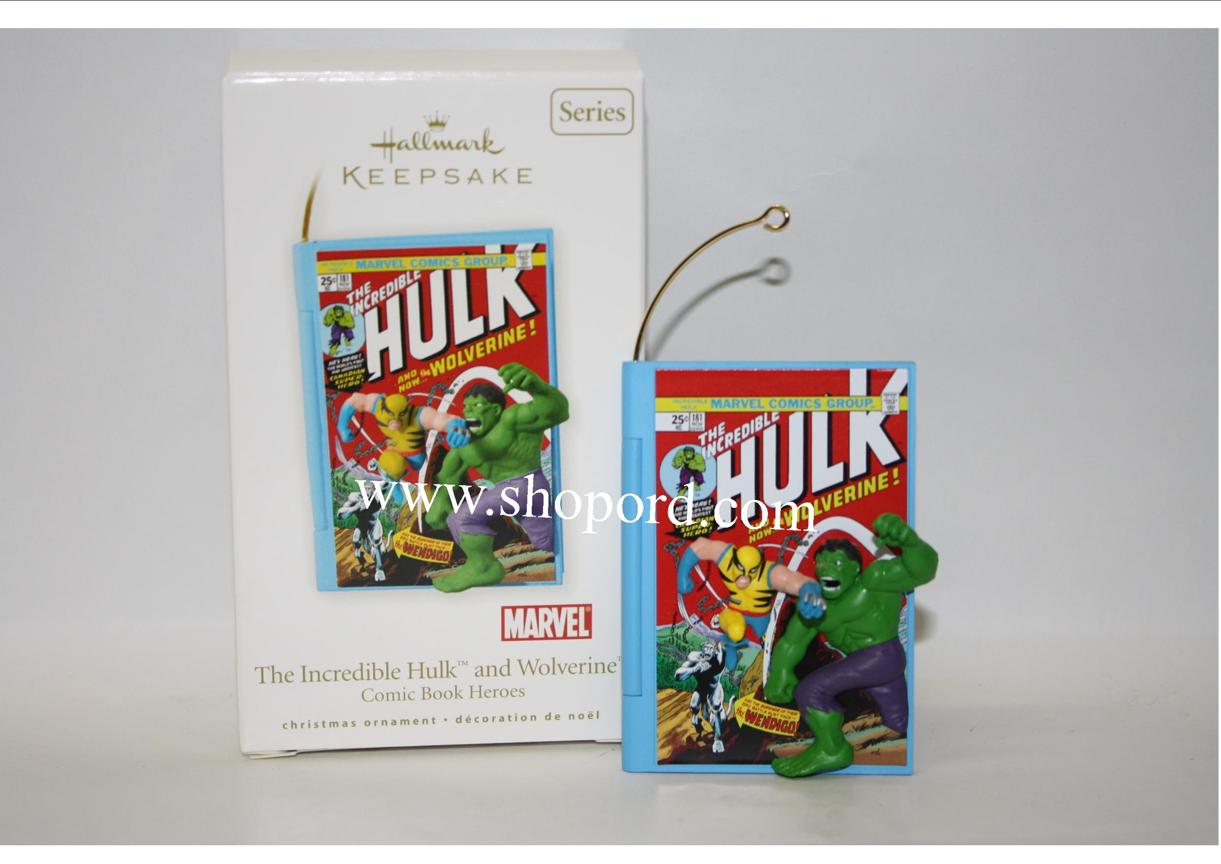 Hallmark 2010 The Incredible Hulk and Wolverine Comic Book Heroes Ornament 3rd in the Series QX8453