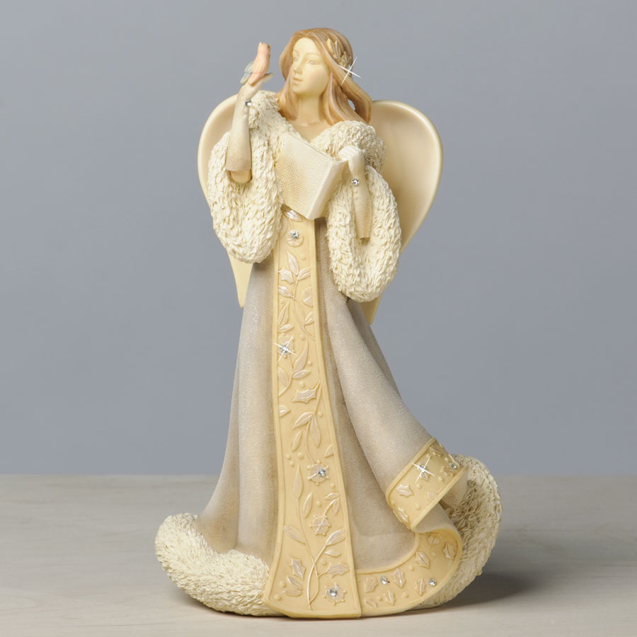Enesco Foundations Winter Angel with Singing Birds Figurine 4035321