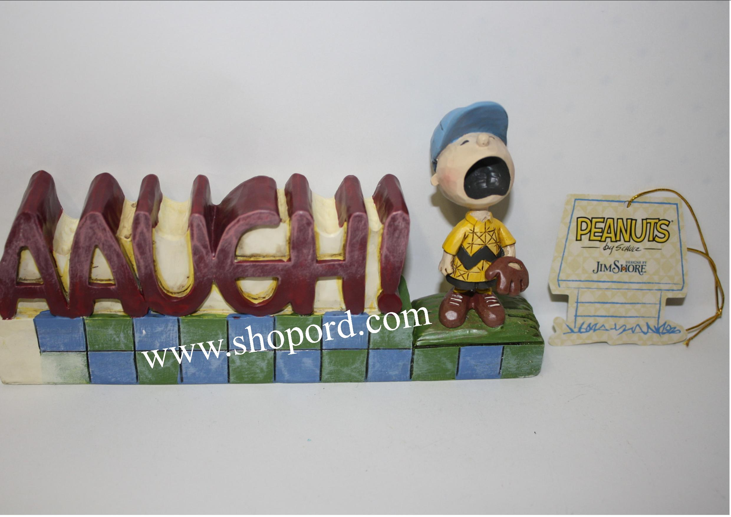 Jim Shore Peanuts AAUGH Charlie Brown Word Plaque Figurine 4042388